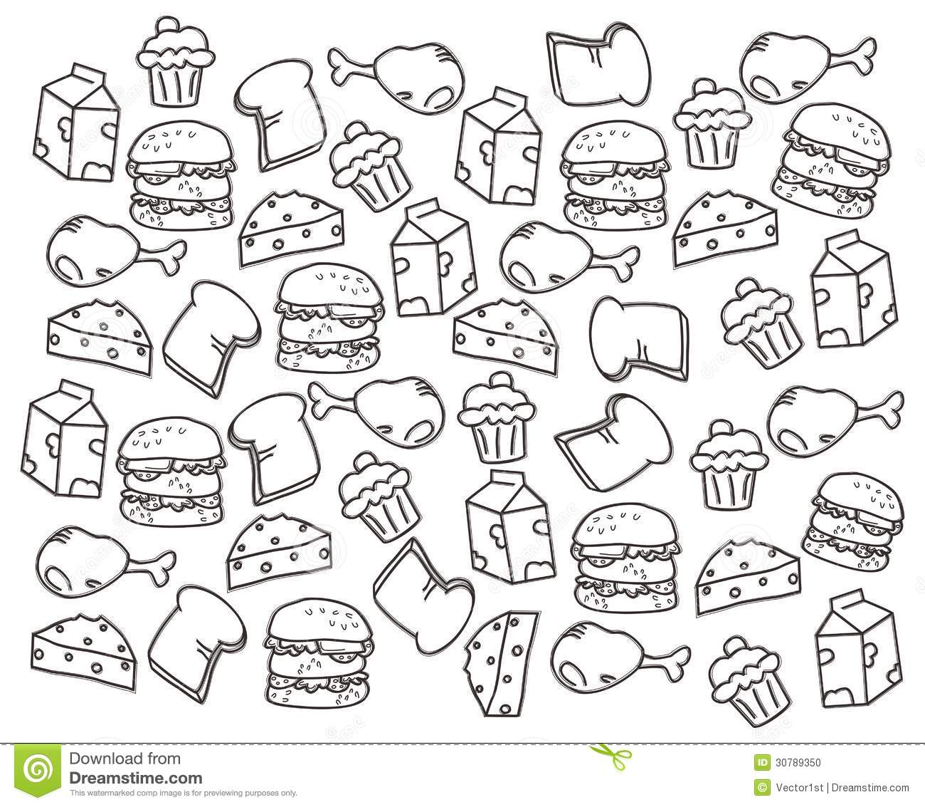 Food Doodle Hand Draw Stock Photo
