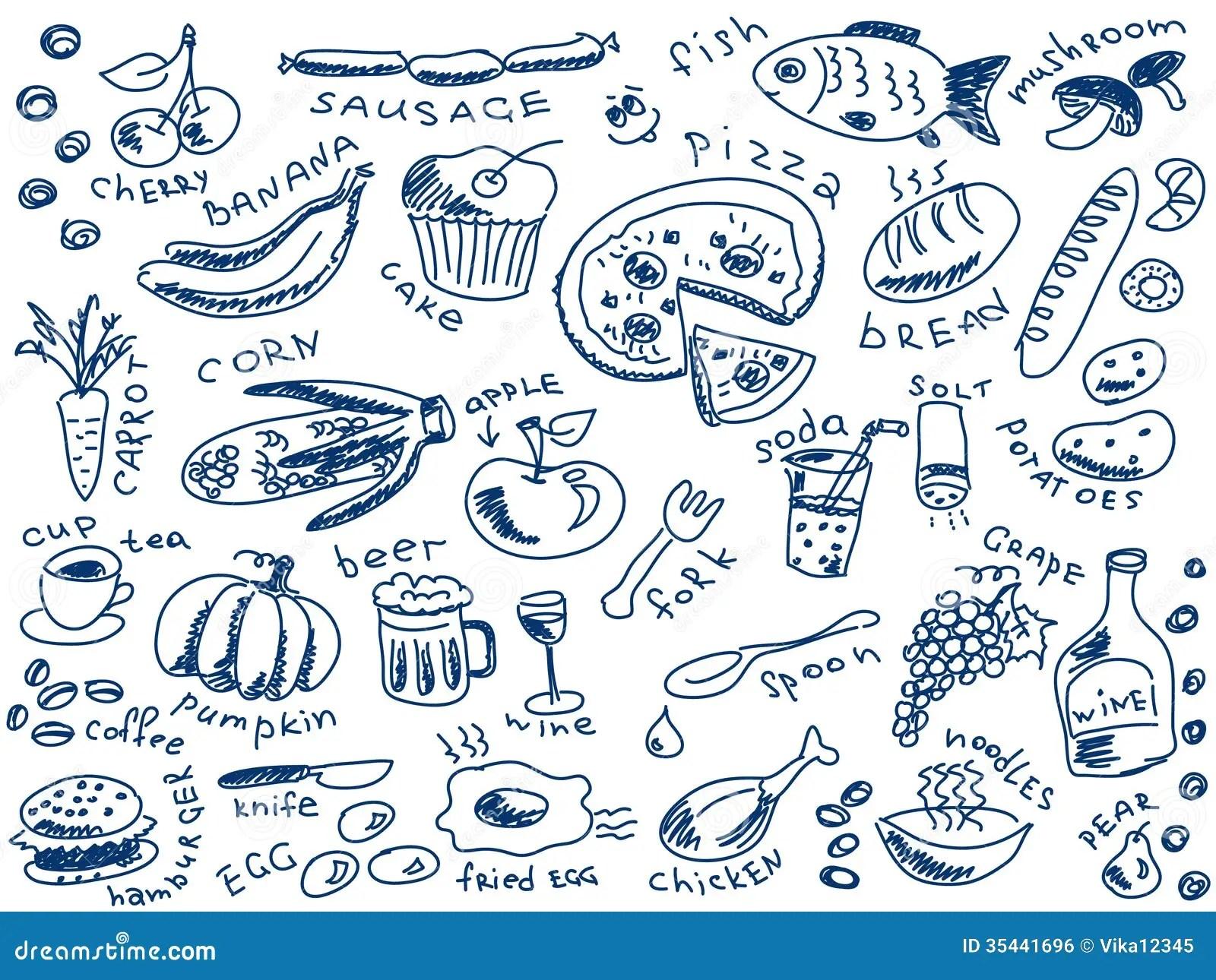Food Doodles Stock Vector Illustration Of Banana Food