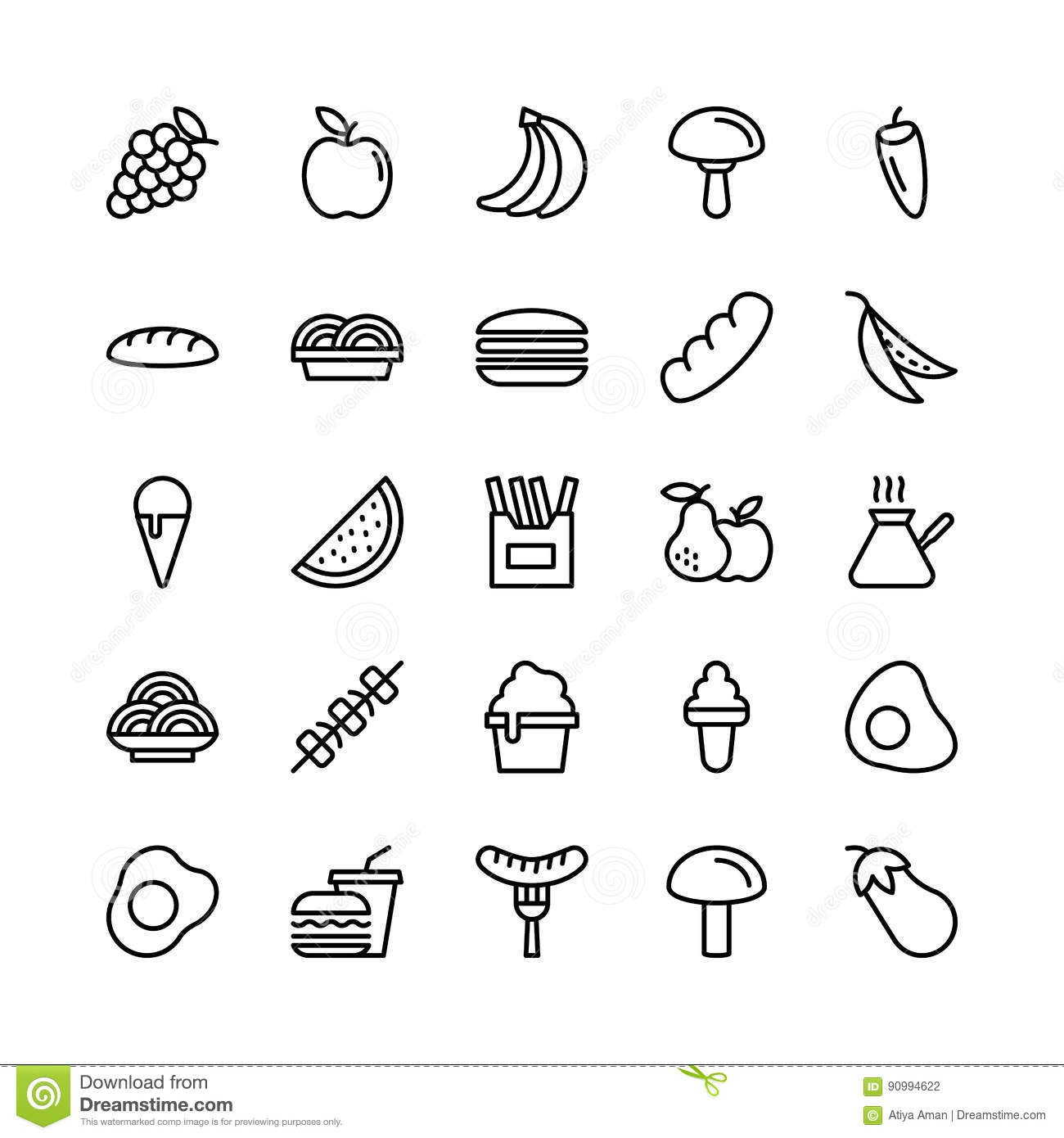 Food Line Vector Icons 6 Stock Illustration Illustration