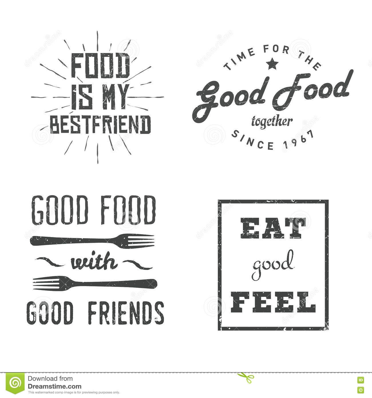 Food Quotes Stock Vector Illustration Of Message