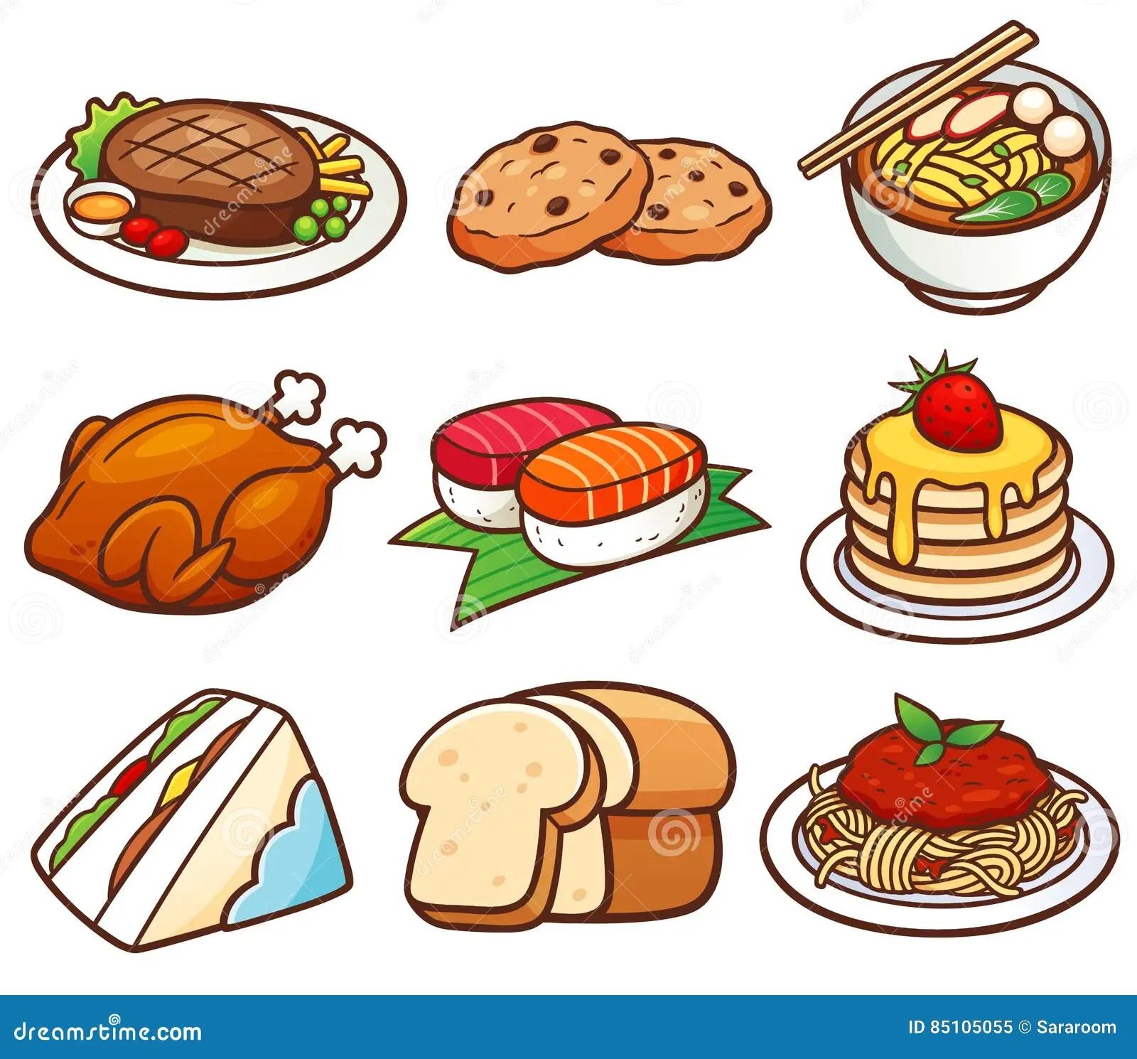 Food Set Stock Vector Illustration Of Steak Pancakes