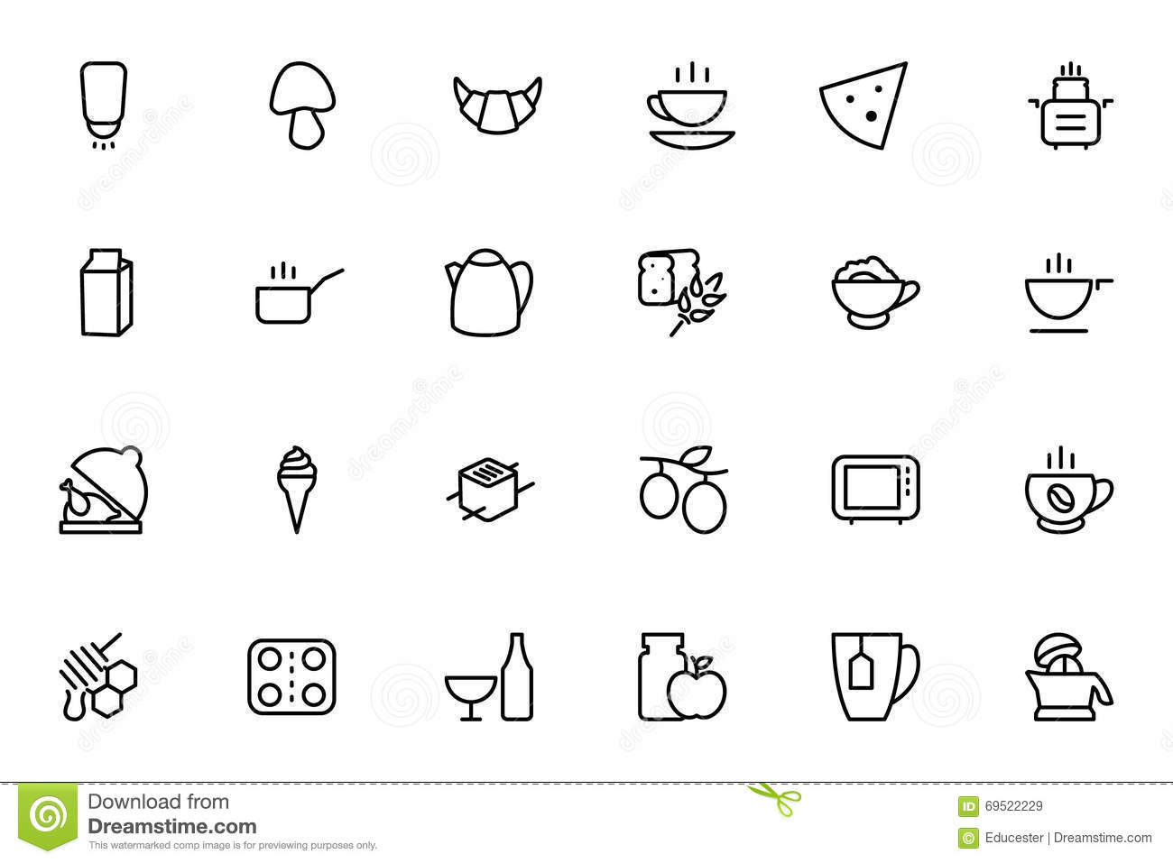 Food Vector Outline Icons 9 Stock Illustration