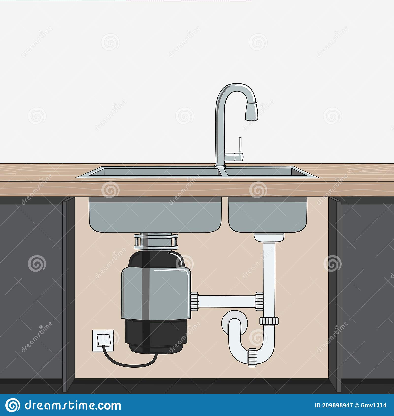 food waste disposer installed under kitchen sink home garbage disposal kitchen interior recycling organic waste sustainable stock vector illustration of garbage home 209898947