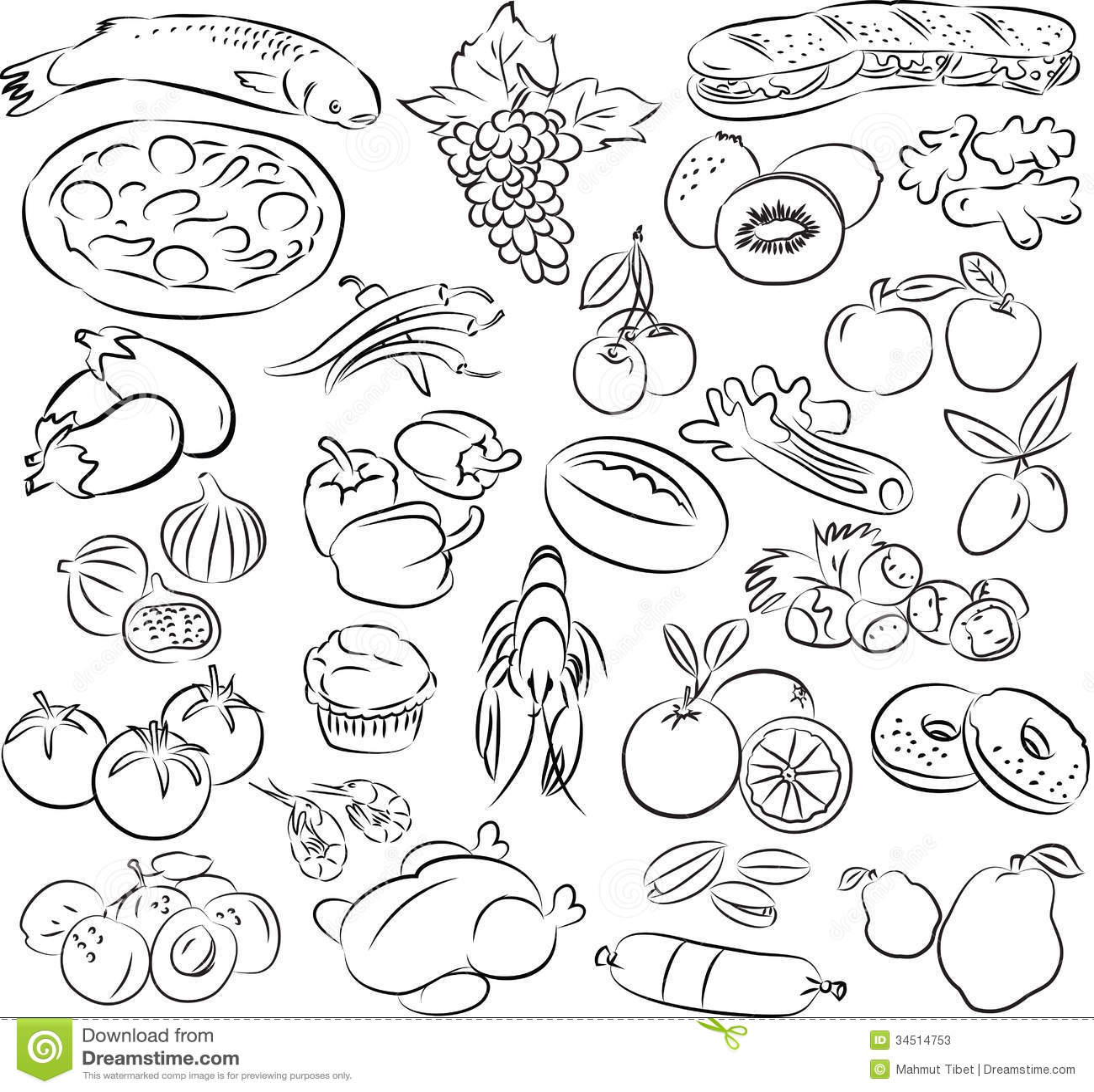 Foods Stock Vector Illustration Of Lettuce Donut Doodle