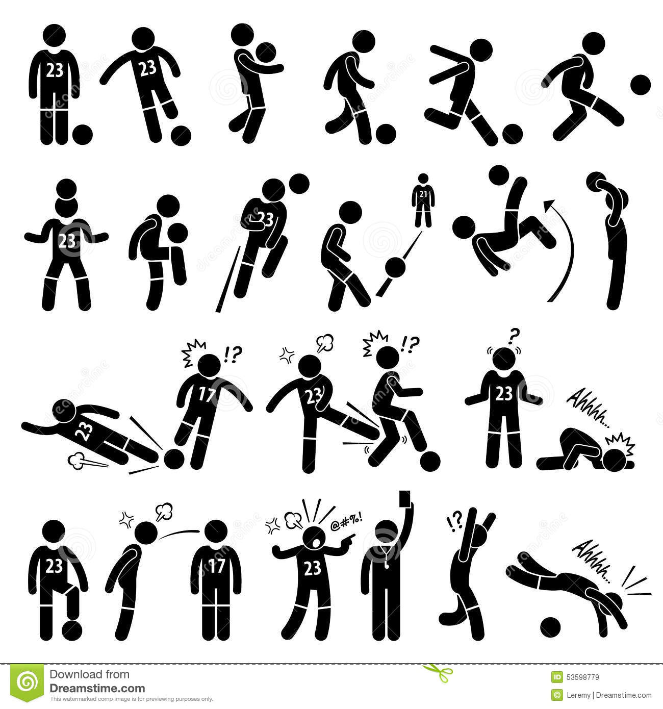 Football Soccer Player Footballer Actions Poses Cliparts