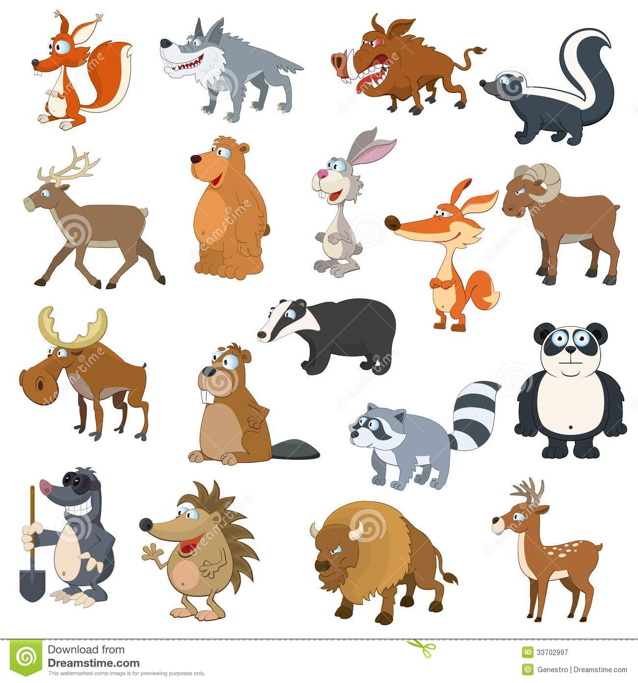 Forest Animals Set Stock Vector Illustration Of Beaver