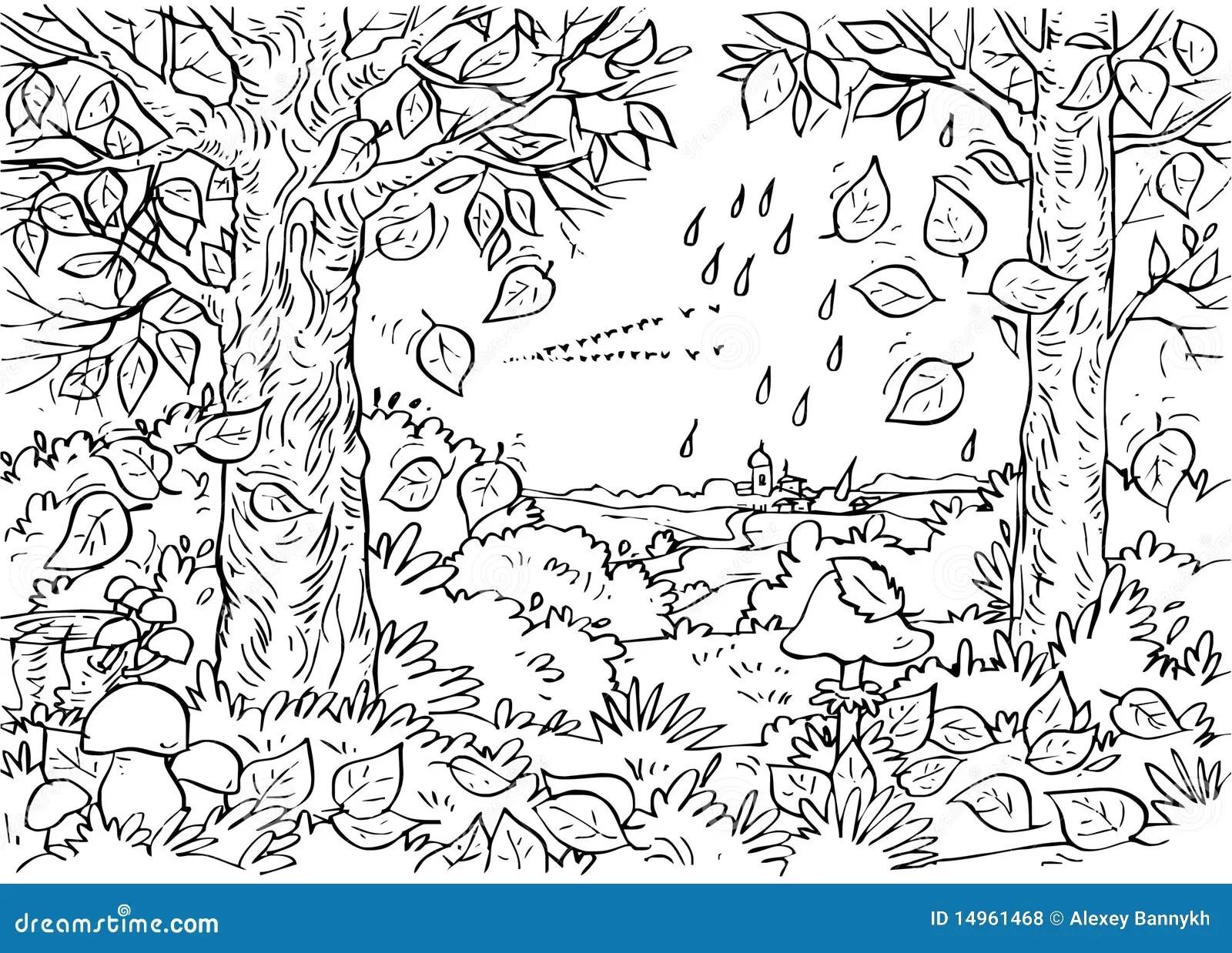 Forest In Autumn Stock Illustration Illustration Of