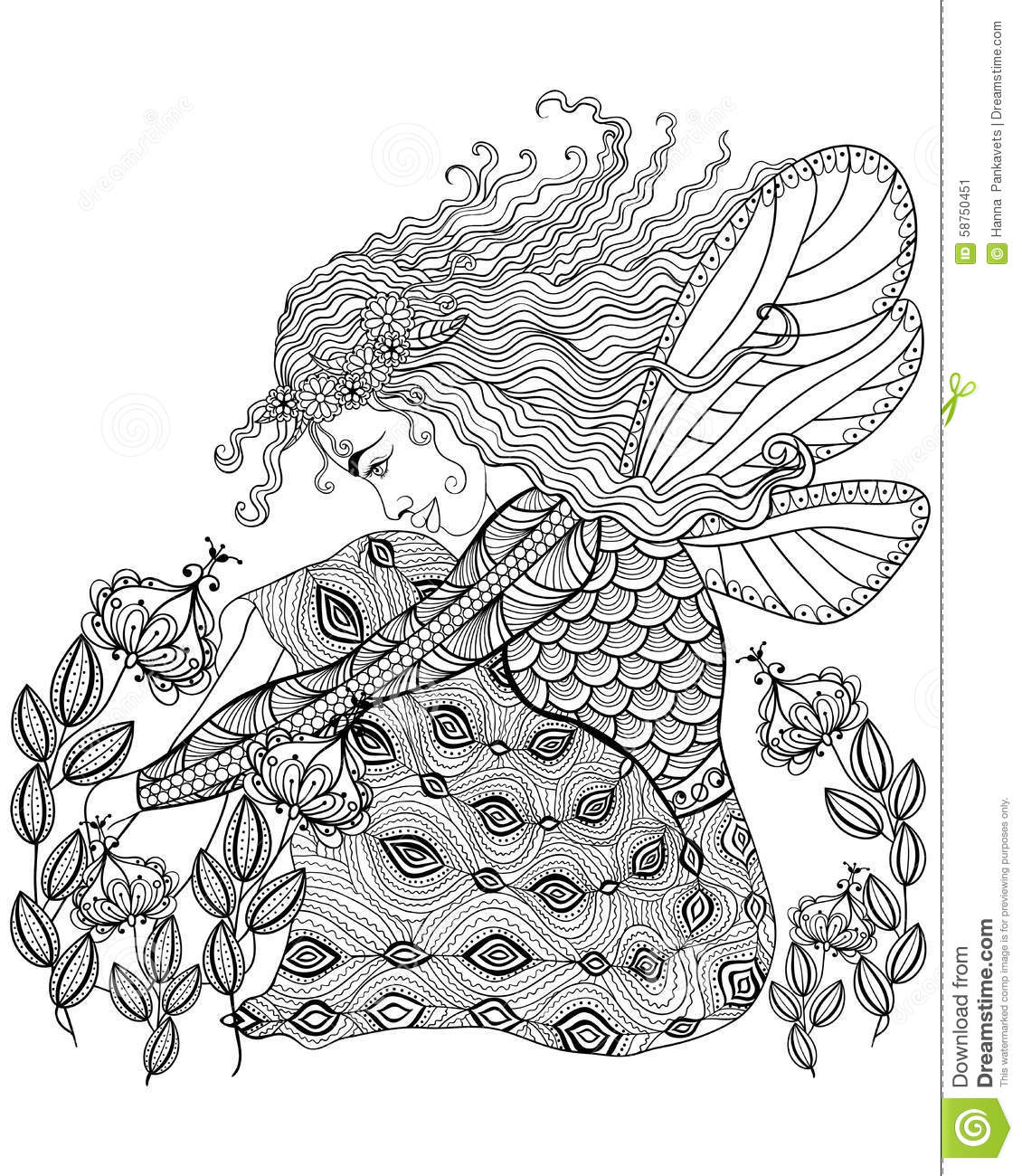 Forest Fairy With Wings In Flower For Adult Anti Stress