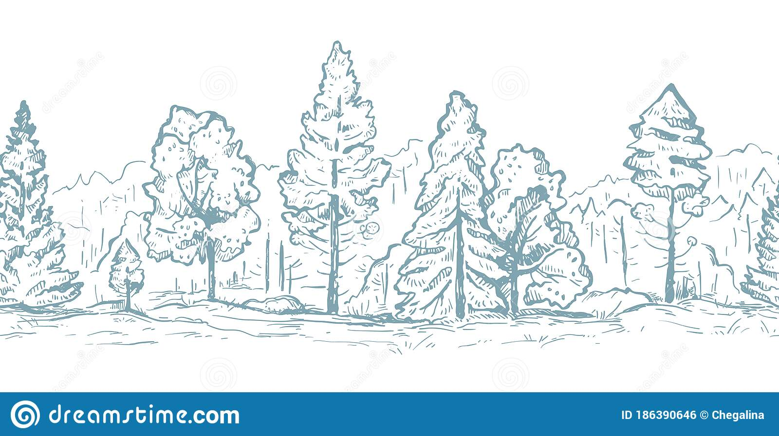 The third type of forest is the boreal forest also known as taiga. Forest Hand Drawn Graphic Seamless Vector Sketch Pattern Fir Trees And Deciduous Trees In Gray Color Stock Vector Illustration Of Season Abstract 186390646