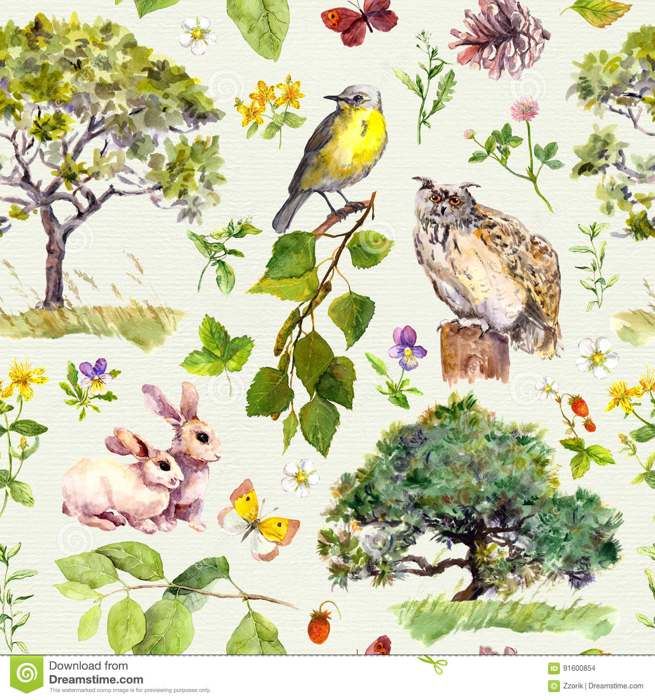 Forest And Park Bird Rabbit Animal Tree Leaves