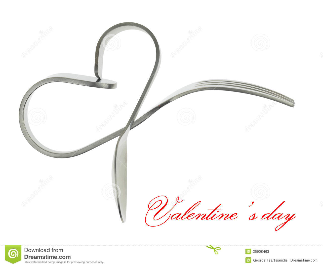 Fork And Spoon Heart Stock Photos