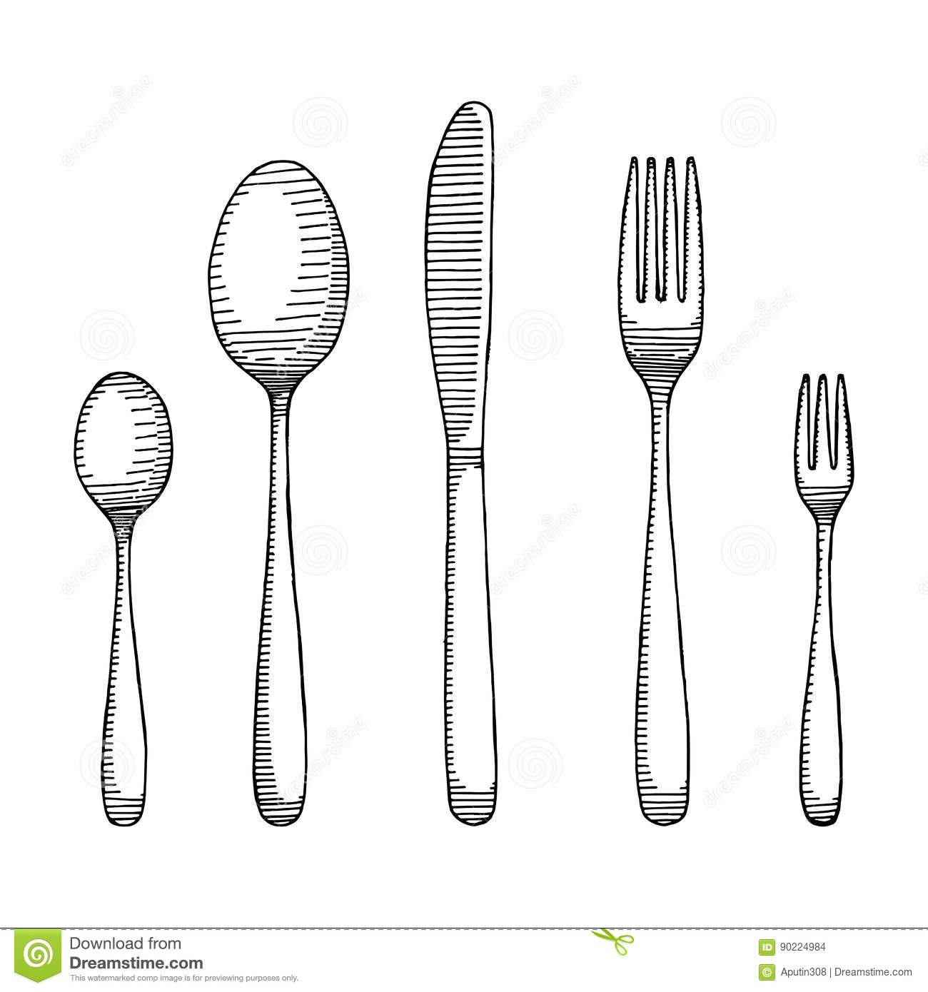 Fork And Spoon With A Knife Drawing Cutlery Sketch Vector
