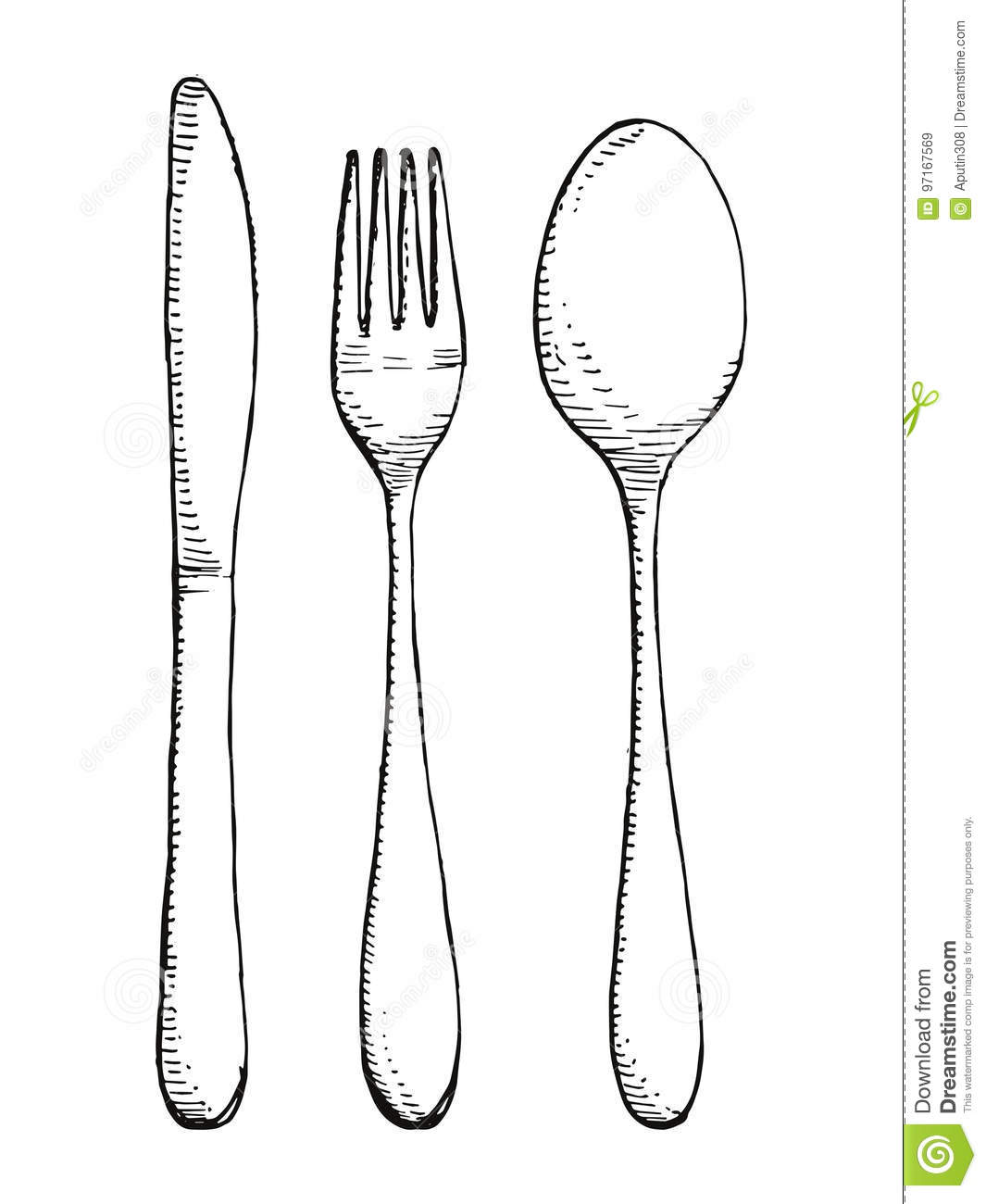 Fork Spoon And Knife Vector Set Cutlery Hand Drawing