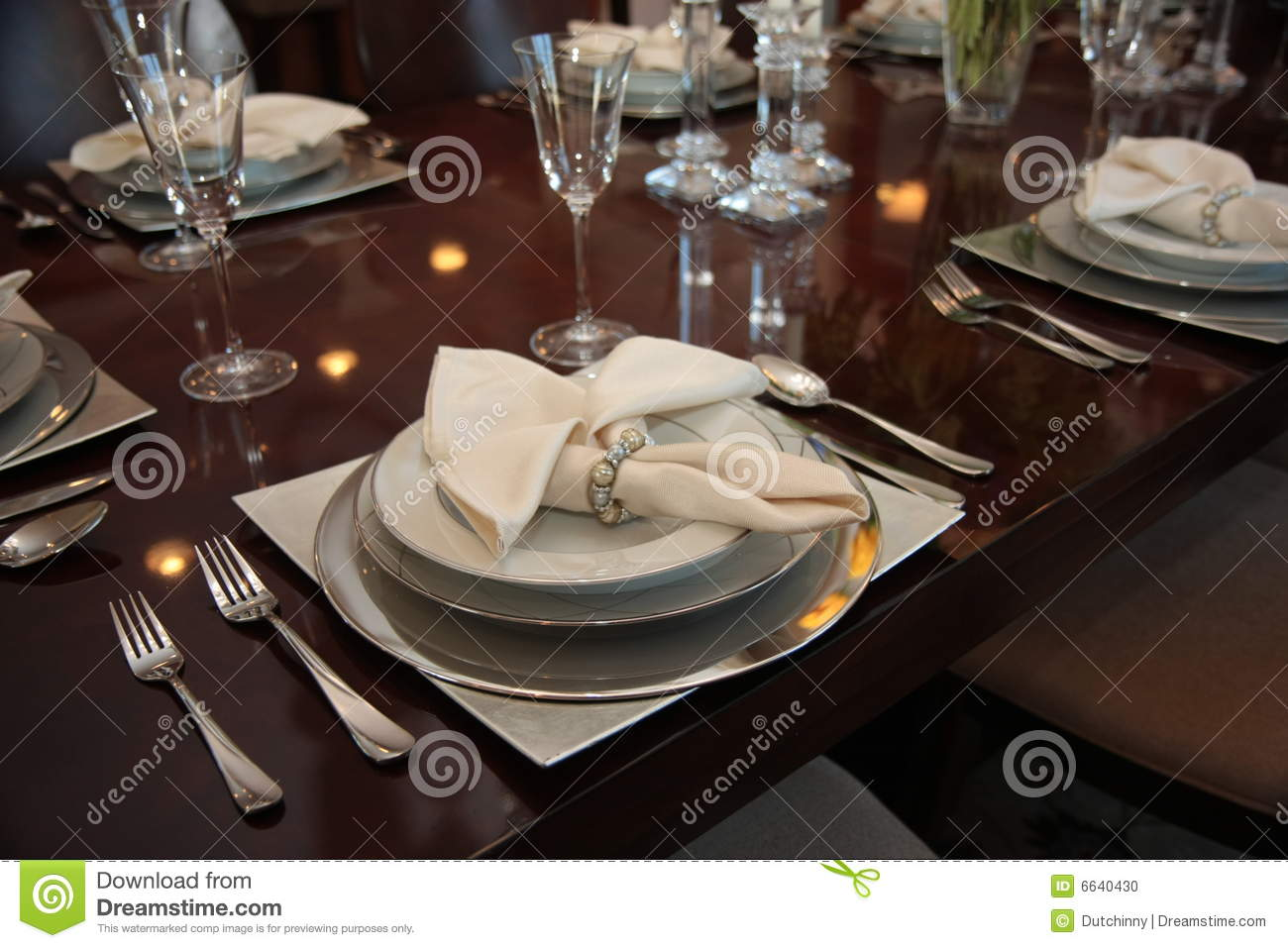 Formal Dinner Place Settings Stock Photo Image Of Lavish