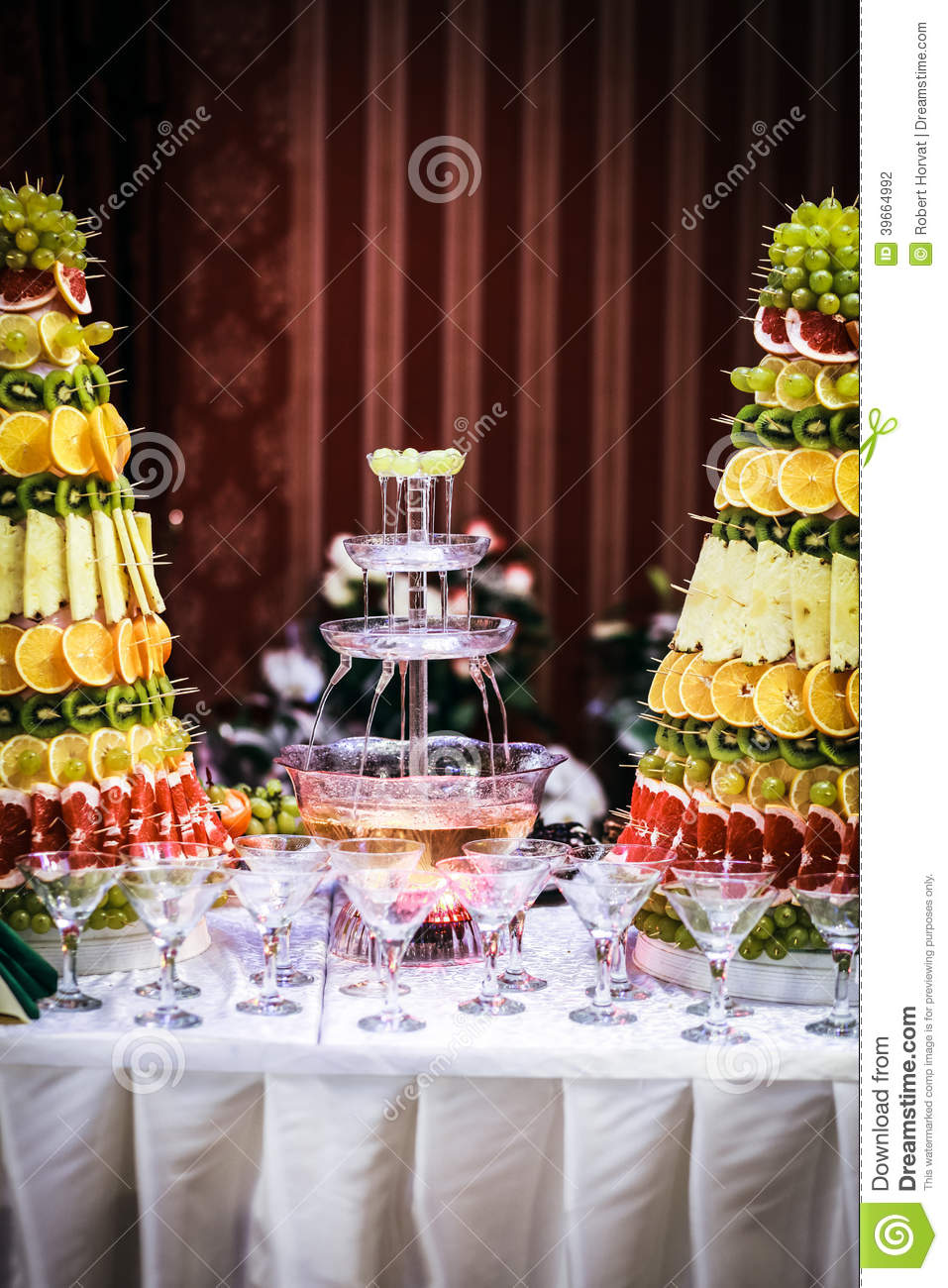 Fountain Of Wine At A Luxury Wedding Reception Stock Photo