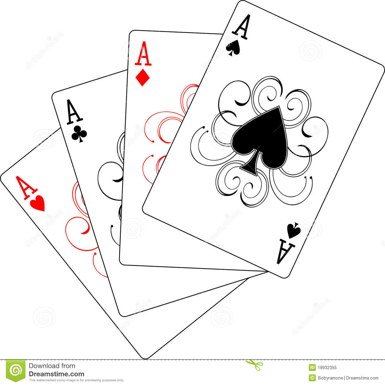Four Aces Playing Cards Stock Vector