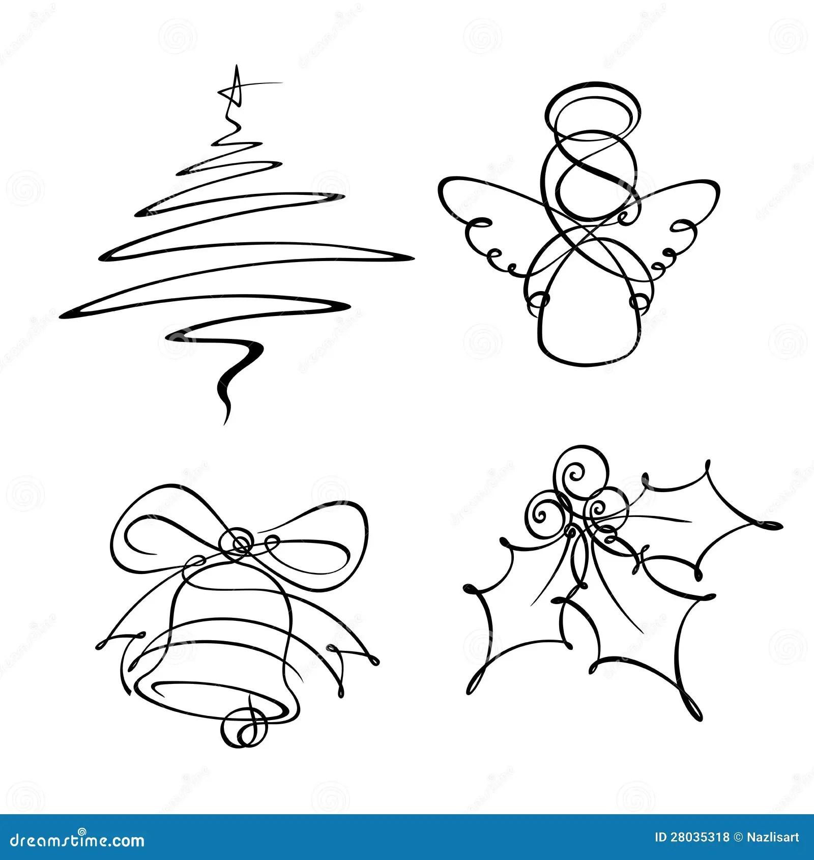 Four Christmas Single Line Icons Royalty Free Stock Photos