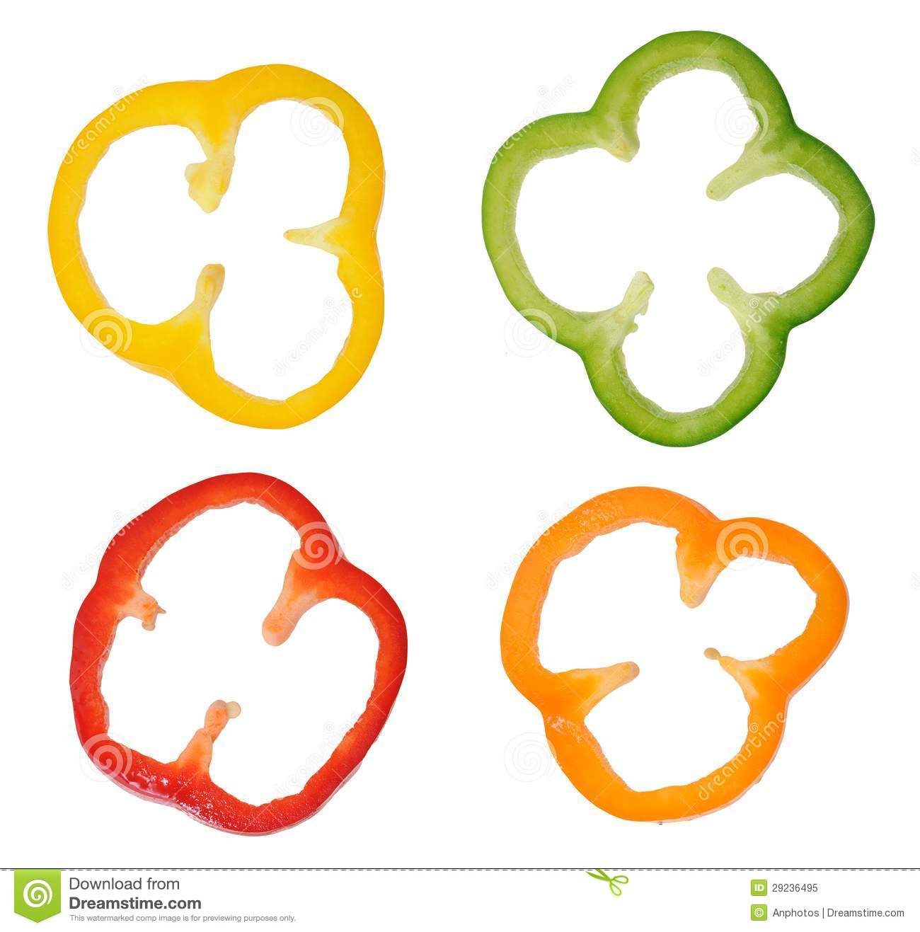 Four Colorful Slices Of Bell Pepper Stock Image