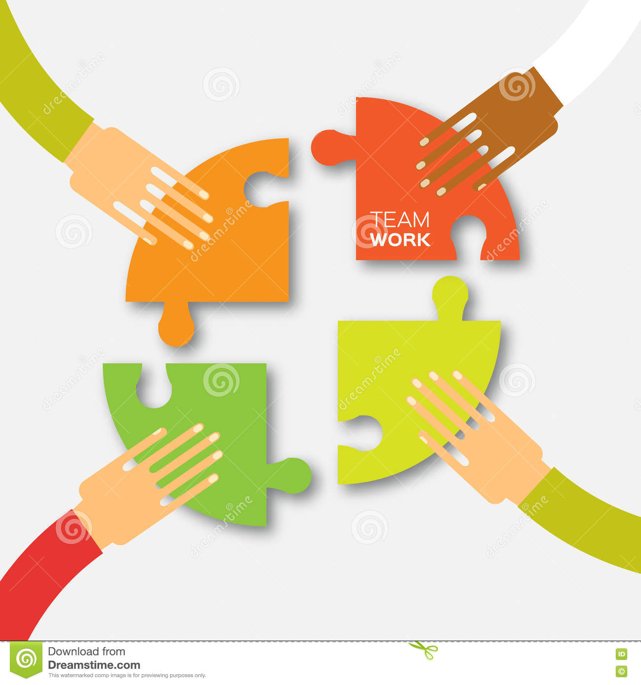 Four Hands Together Team Work Stock Vector