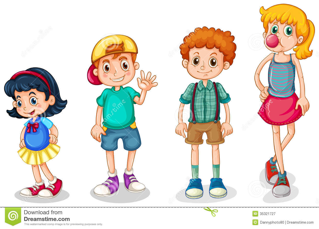 Four Kids Stock Vector Illustration Of Many Older