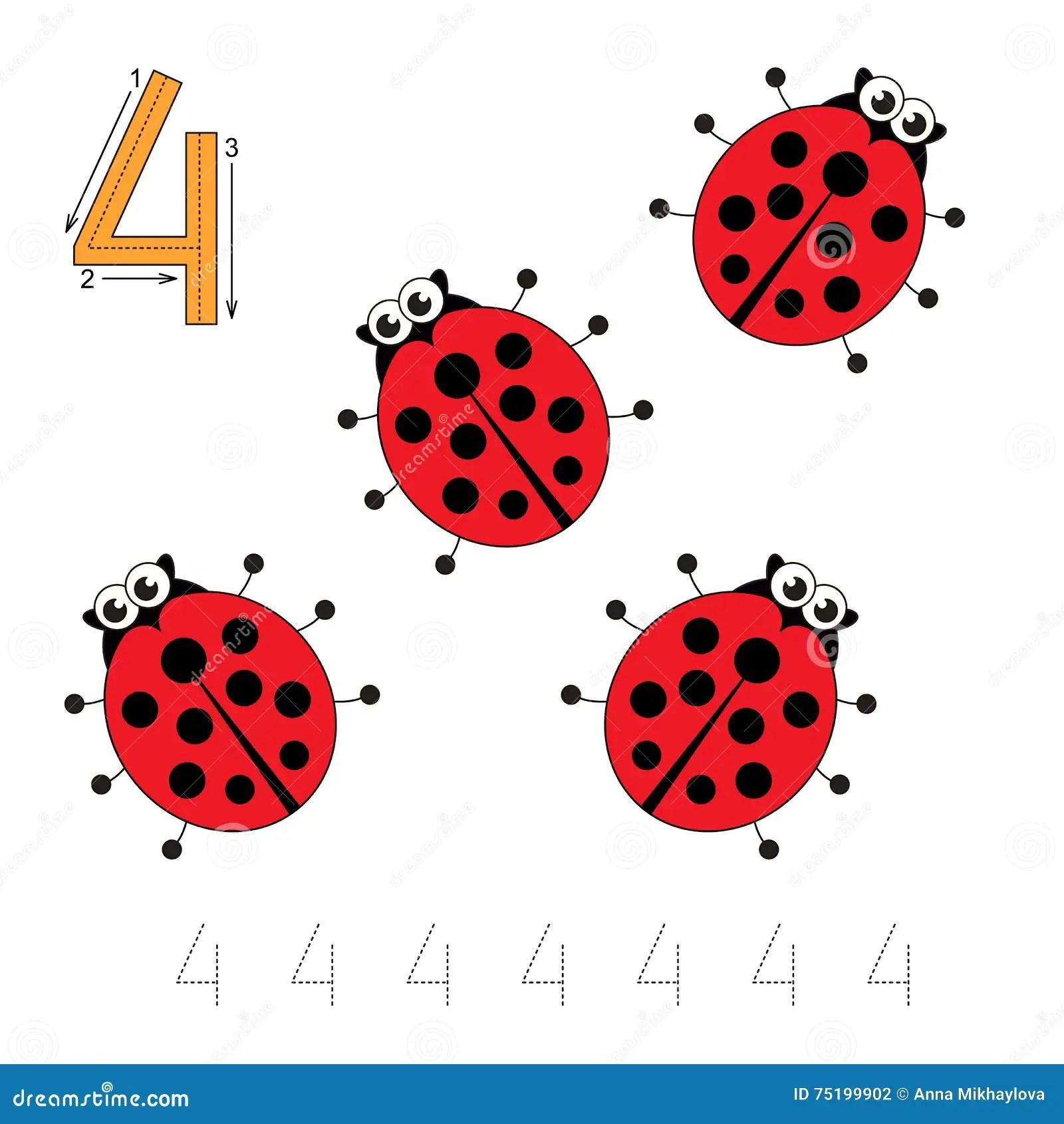 Four Red Ladybugs Stock Vector Illustration Of Cartoon