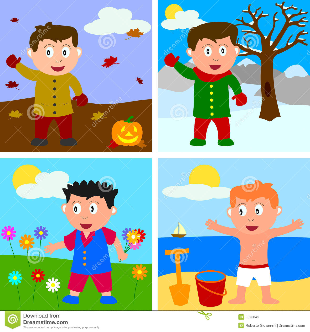 Four Seasons Boys Stock Vector Illustration Of Outdoor
