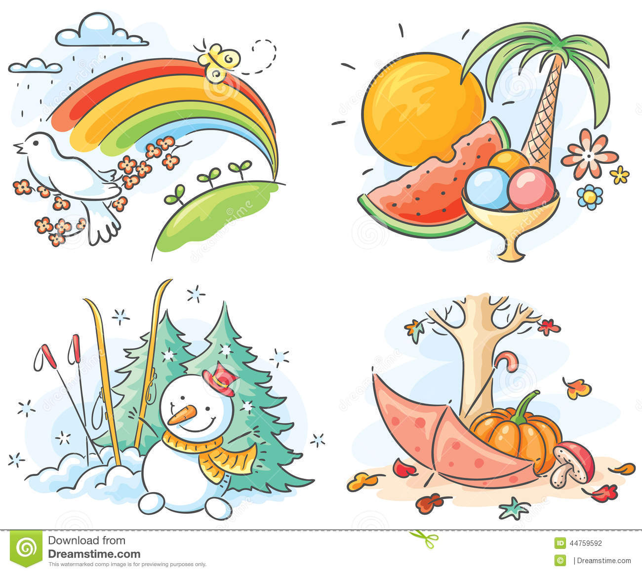 The Four Seasons In Pictures Stock Vector