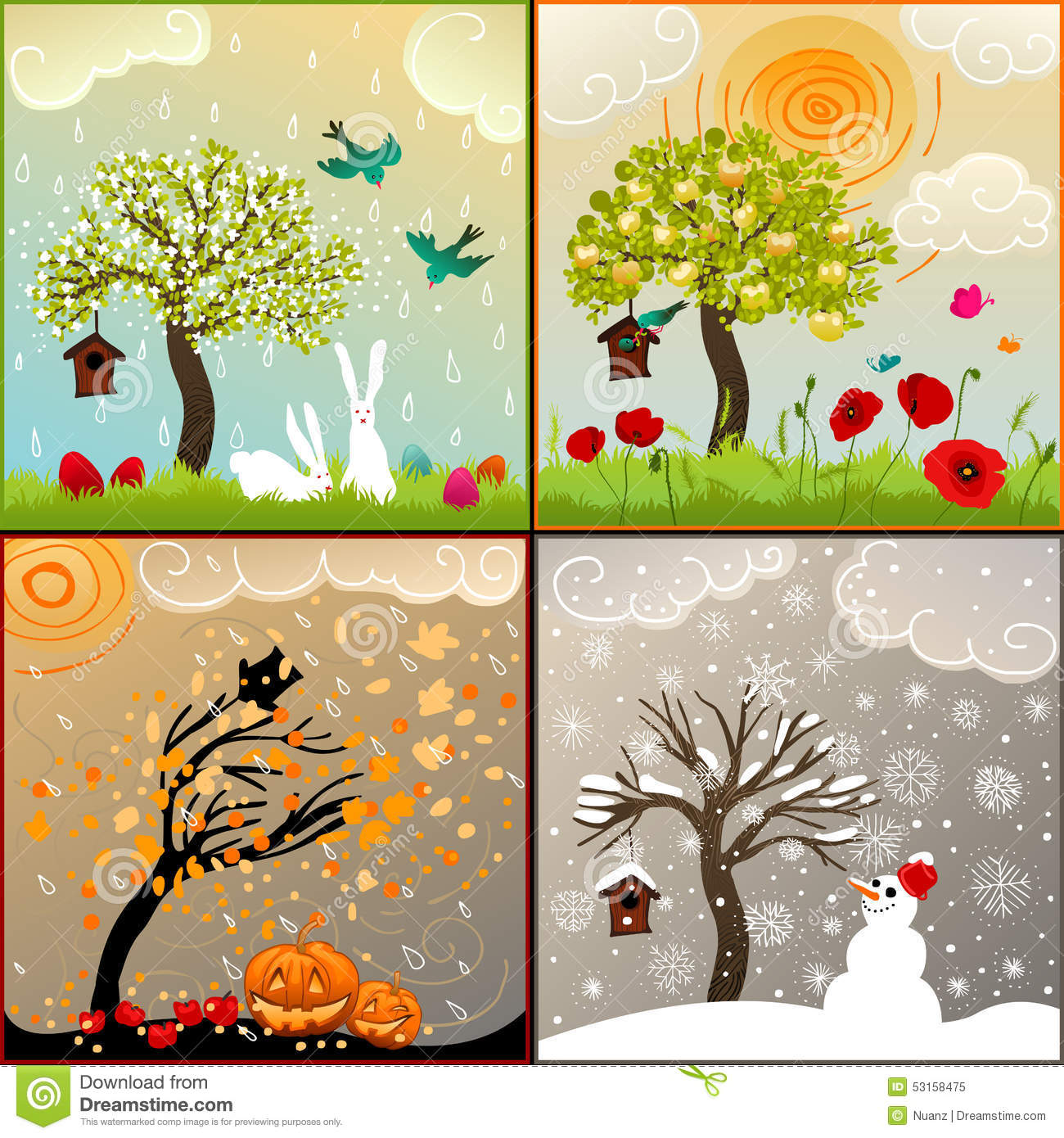 Four Seasons Themed Illustrations Set With Apple Tree
