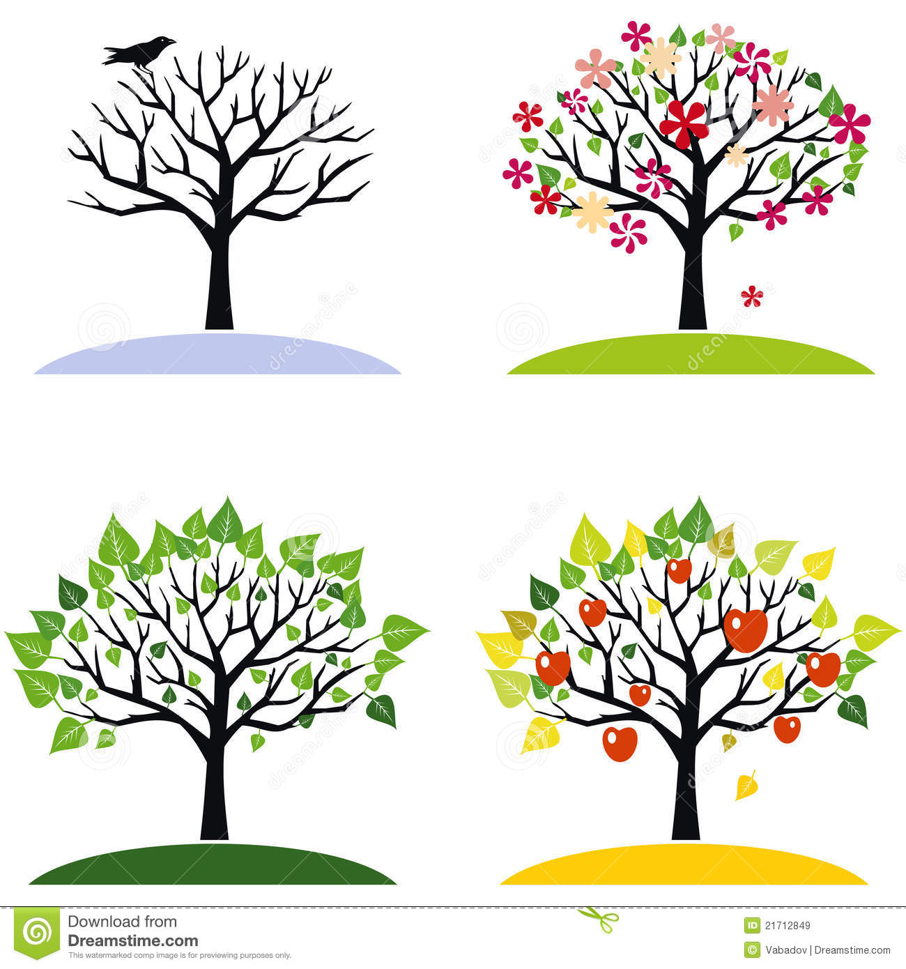 Four Seasons Trees Royalty Free Stock Images