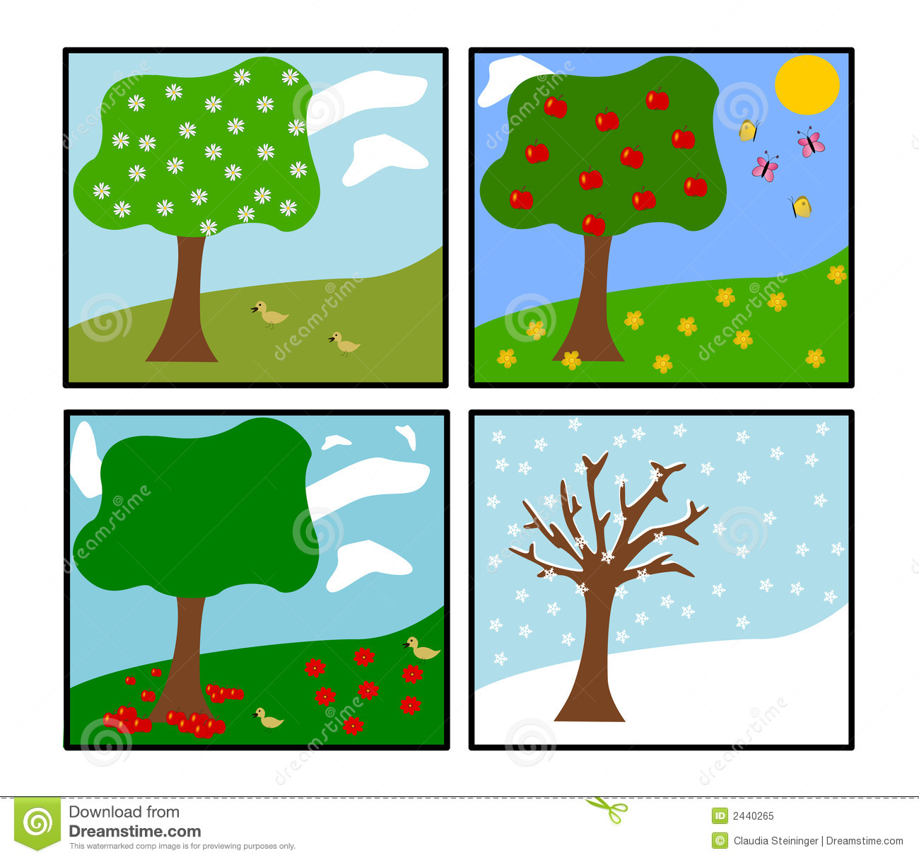 Four Seasons Vector Stock Vector Illustration Of Flora