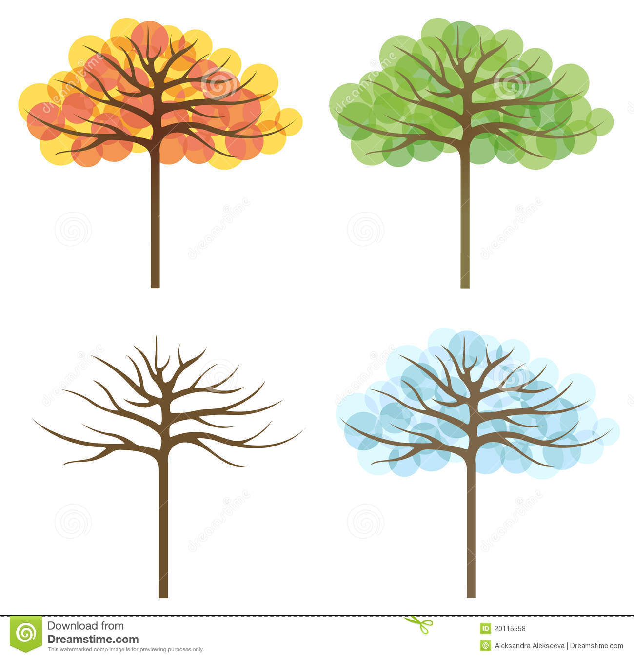 Four Trees Of Different Seasons Stock Vector