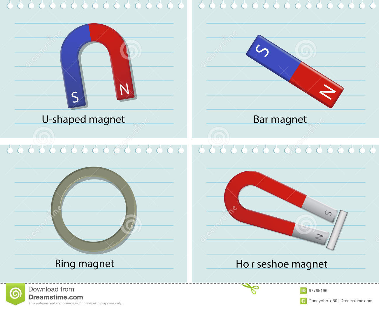 Four Types Of Magnets Stock Vector Illustration Of Tool