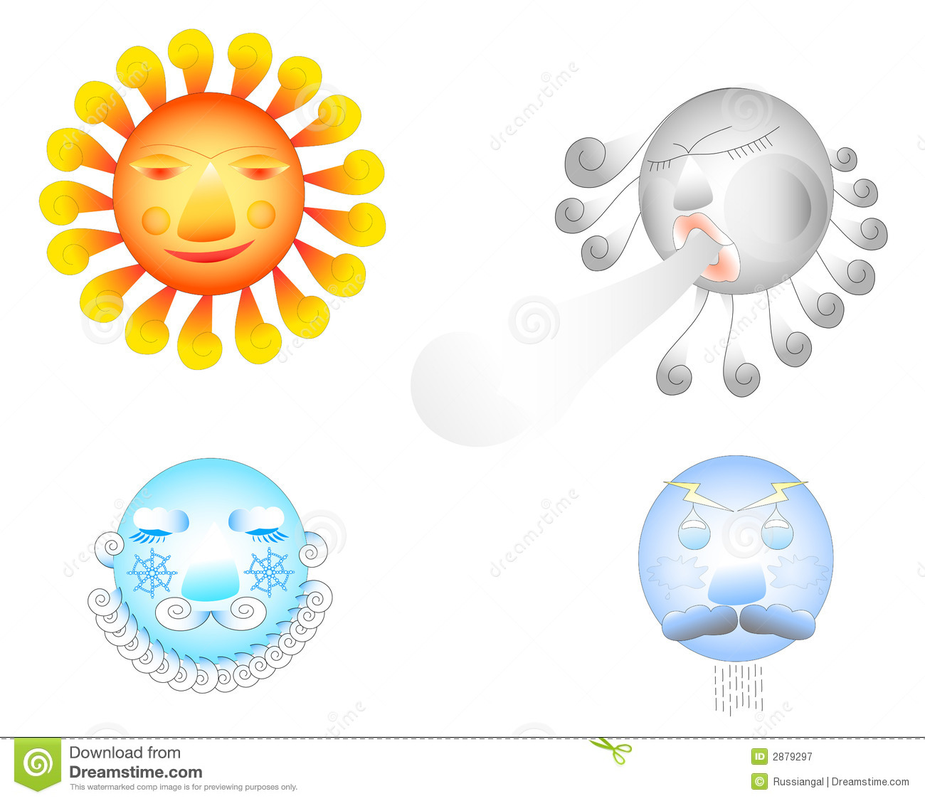 Four Weather Elements Stock Vector Illustration Of