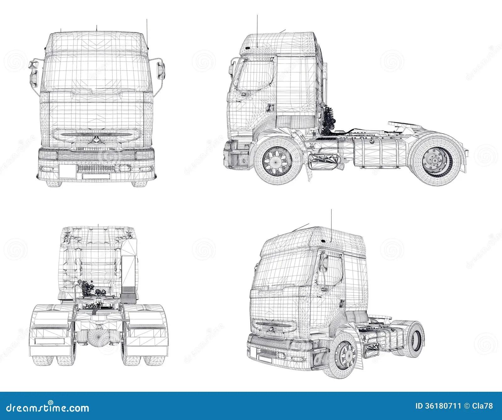 Wire Frame Transport Trucks Stock Illustration