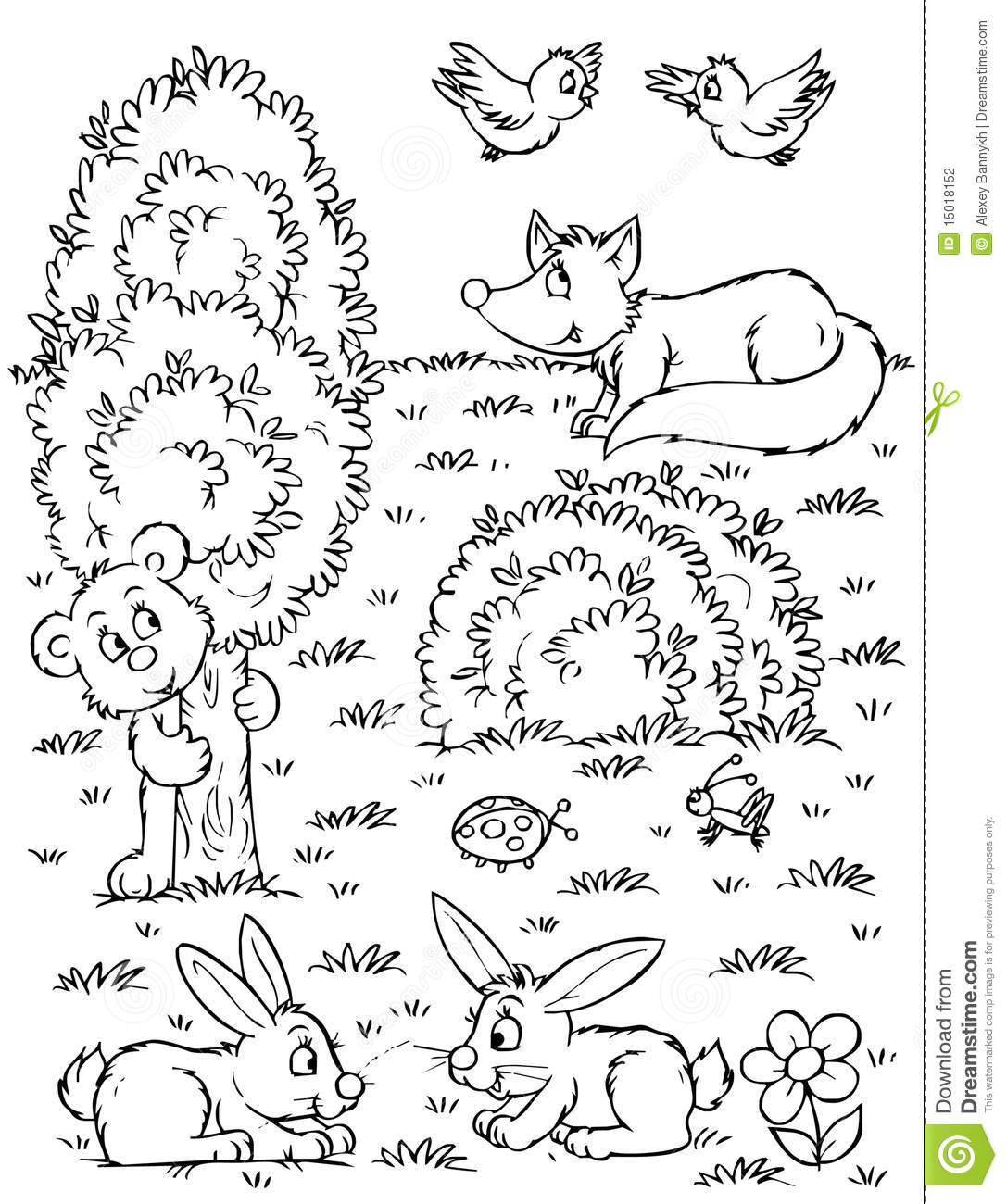 Fox Bear Hares And Birds Stock Illustration