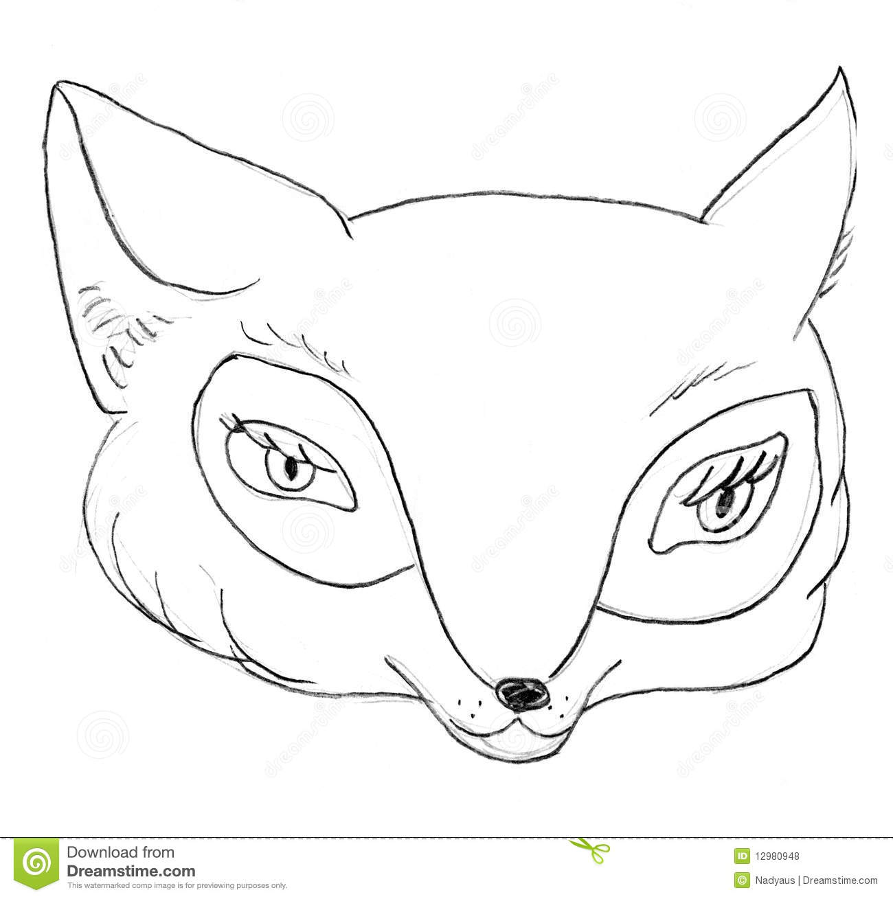 Fox Head Sketch Stock Illustration Illustration Of