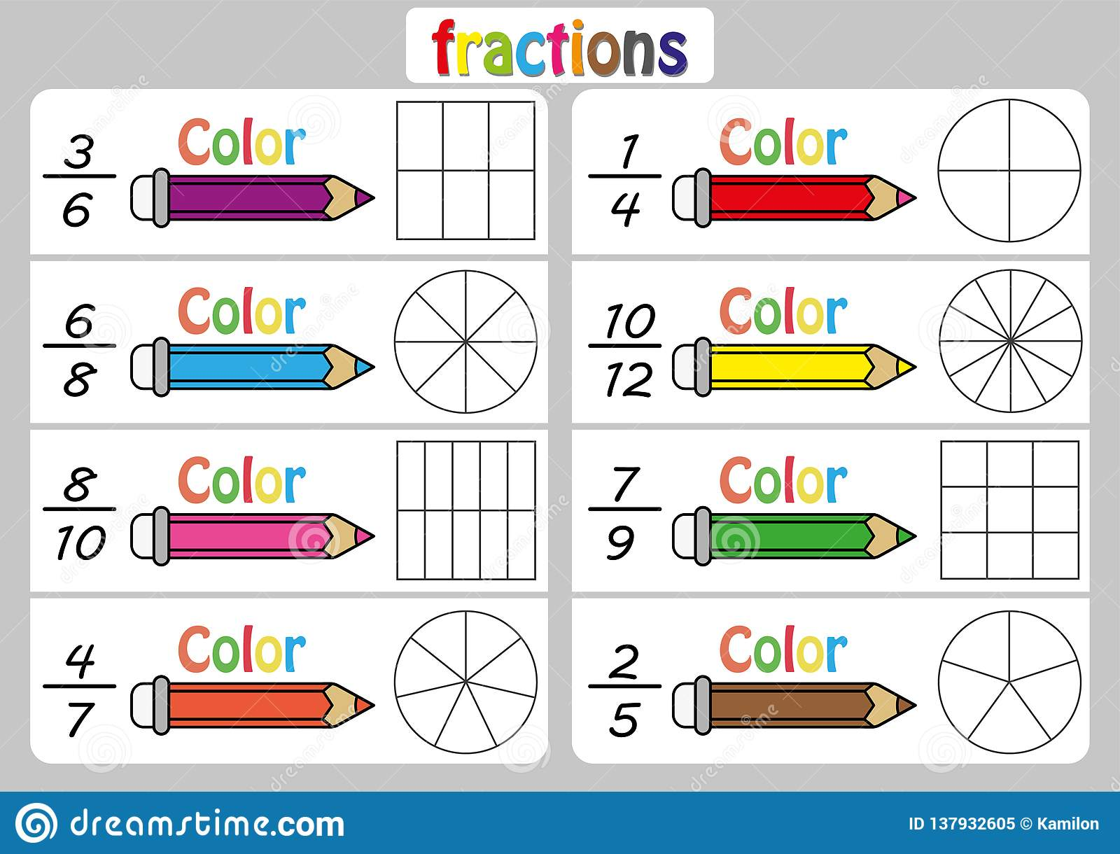 Fraction Diagrams Worksheet