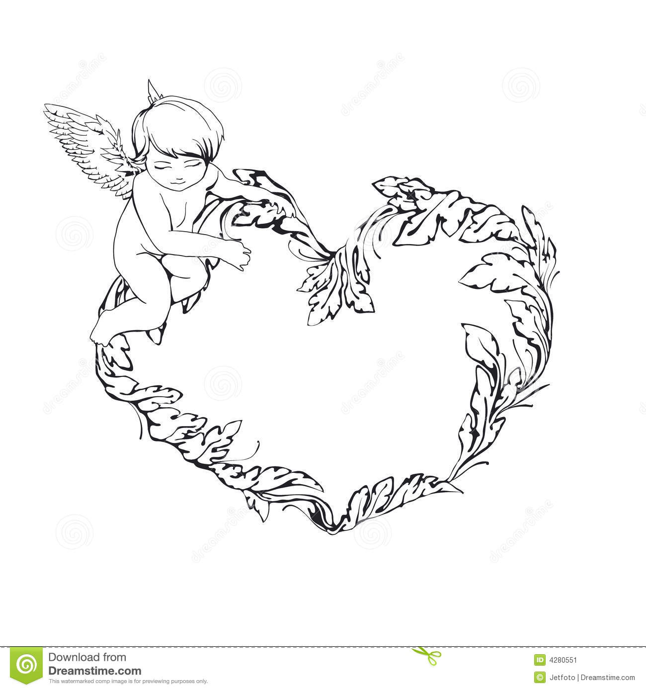 Frame With Angel And Heart Stock Vector Illustration Of