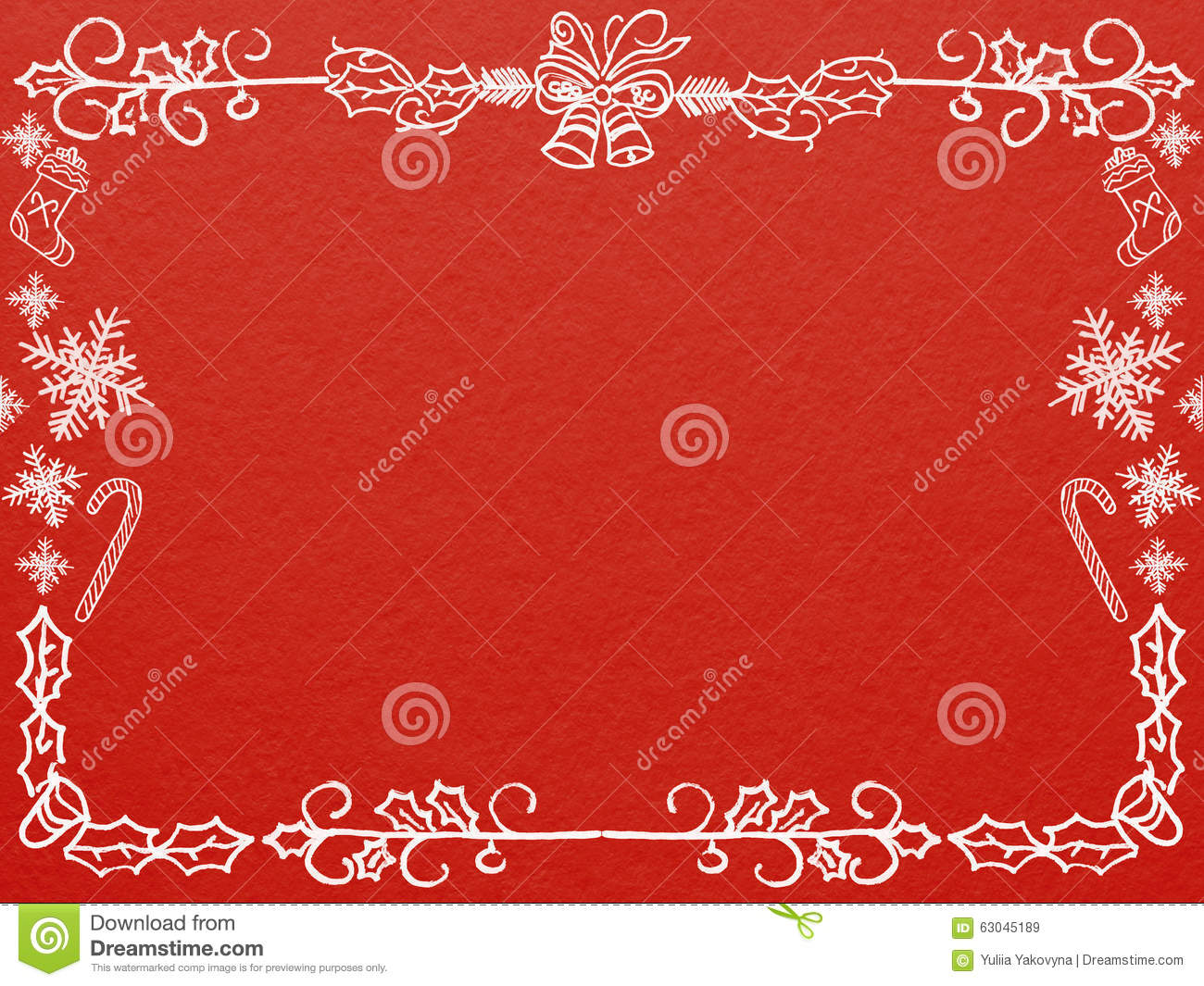 Frame For Christmas And New Year Greeting Card On Red