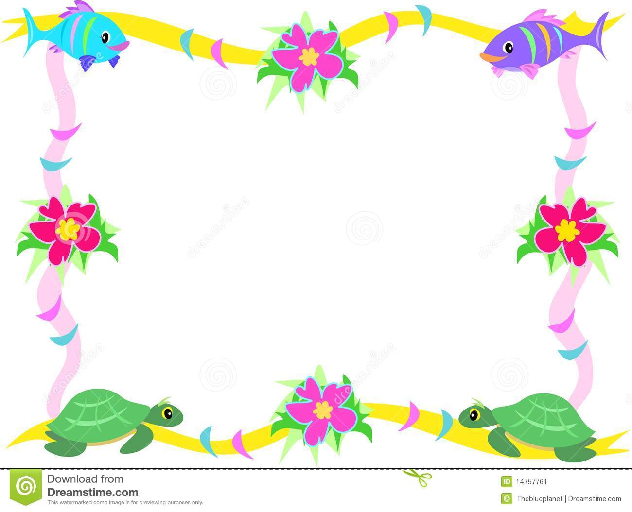 Frame Of Fish Hibiscus And Sea Turtles Stock Image