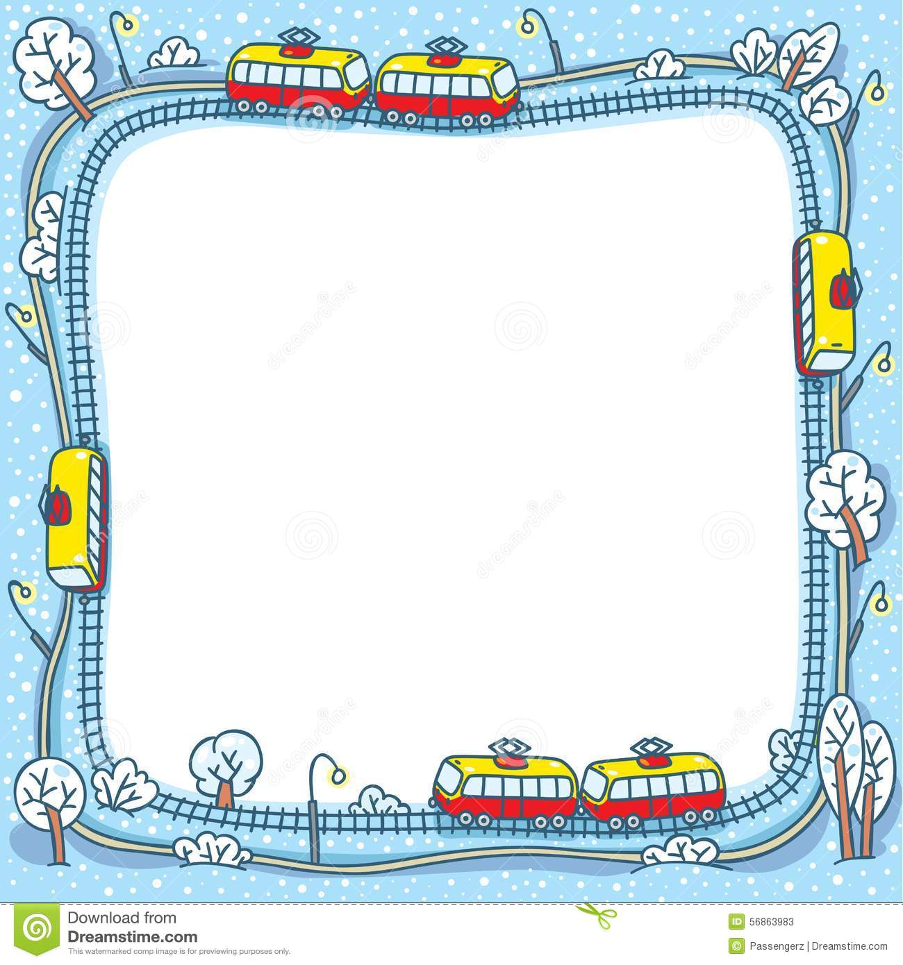 Frame With Funny Trams And Rails Stock Vector Image
