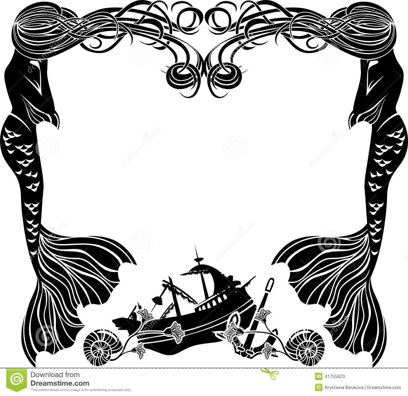 Frame Mermaids Weep Shipwreck Stock Vector