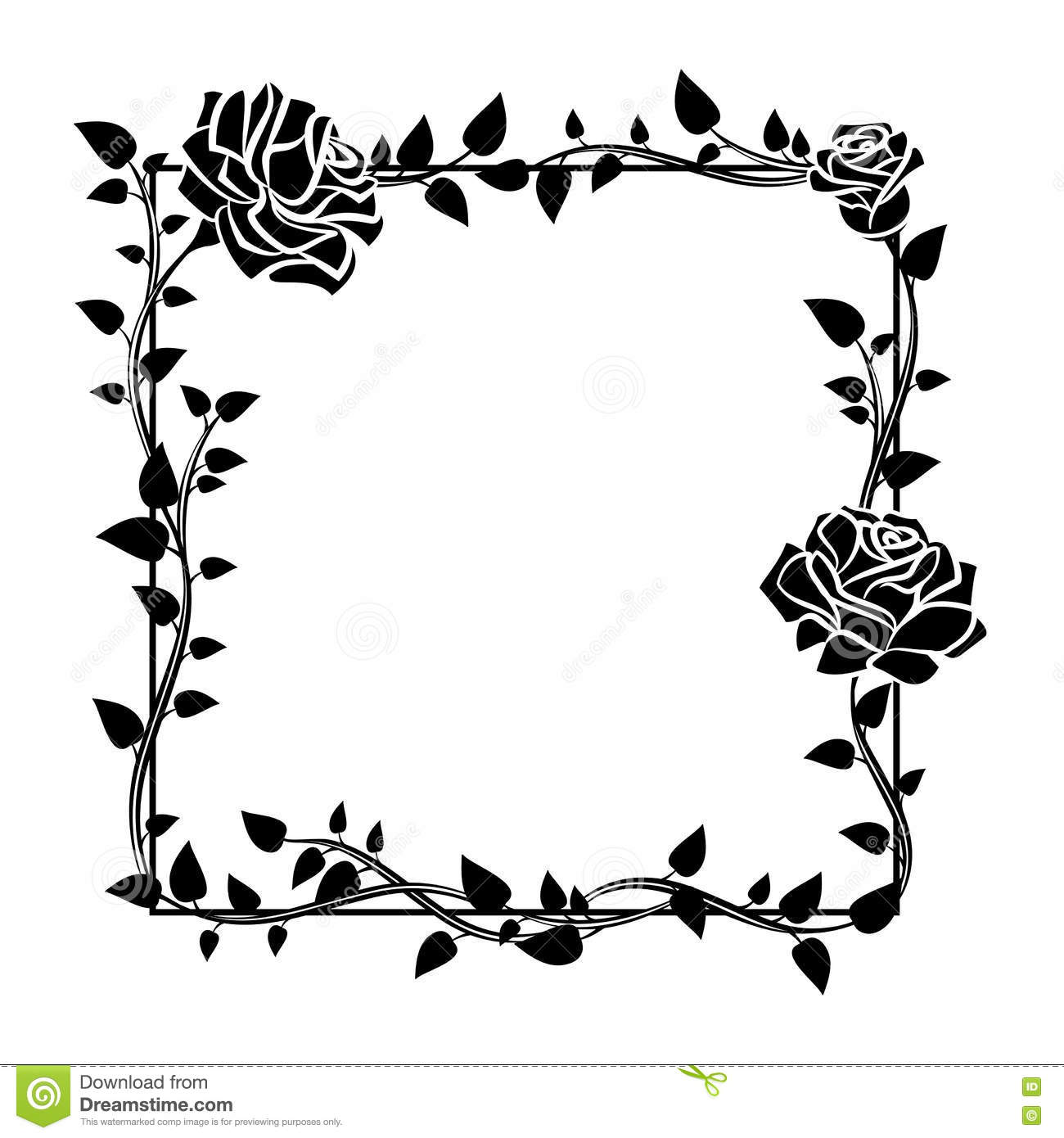 Frame Of Roses Stylish Ornamental Border With Roses