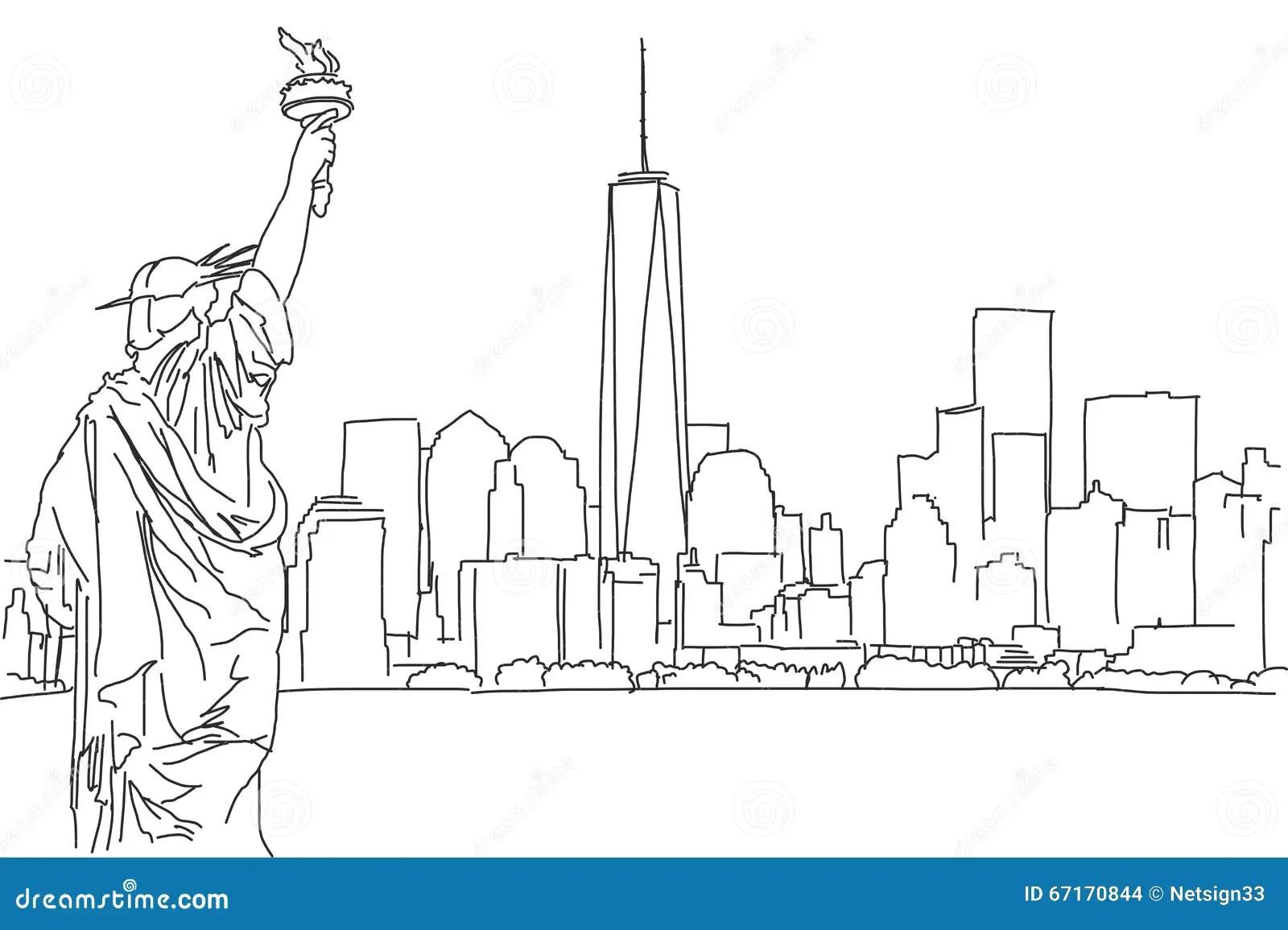 Free Hand Sketch Of New York City Skyline Vector Scribble