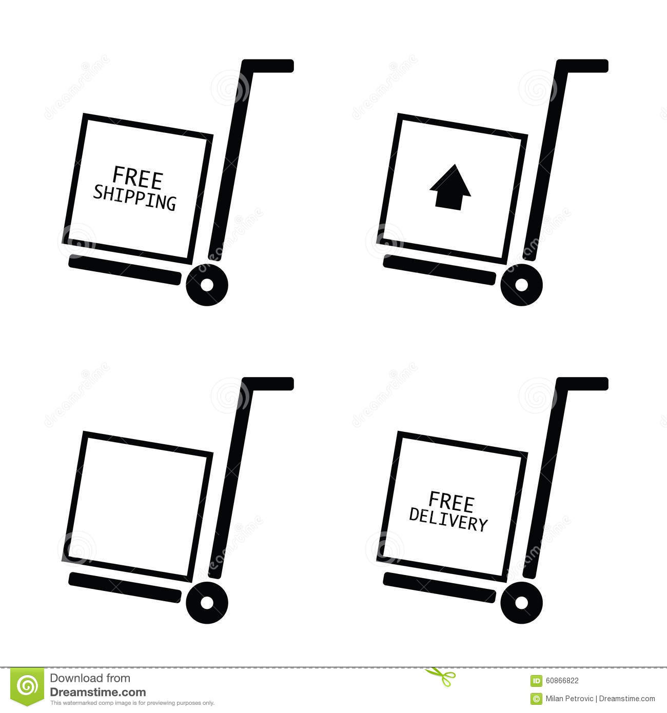 Free Shipping And Delivery Set Trolley Vector Stock Vector