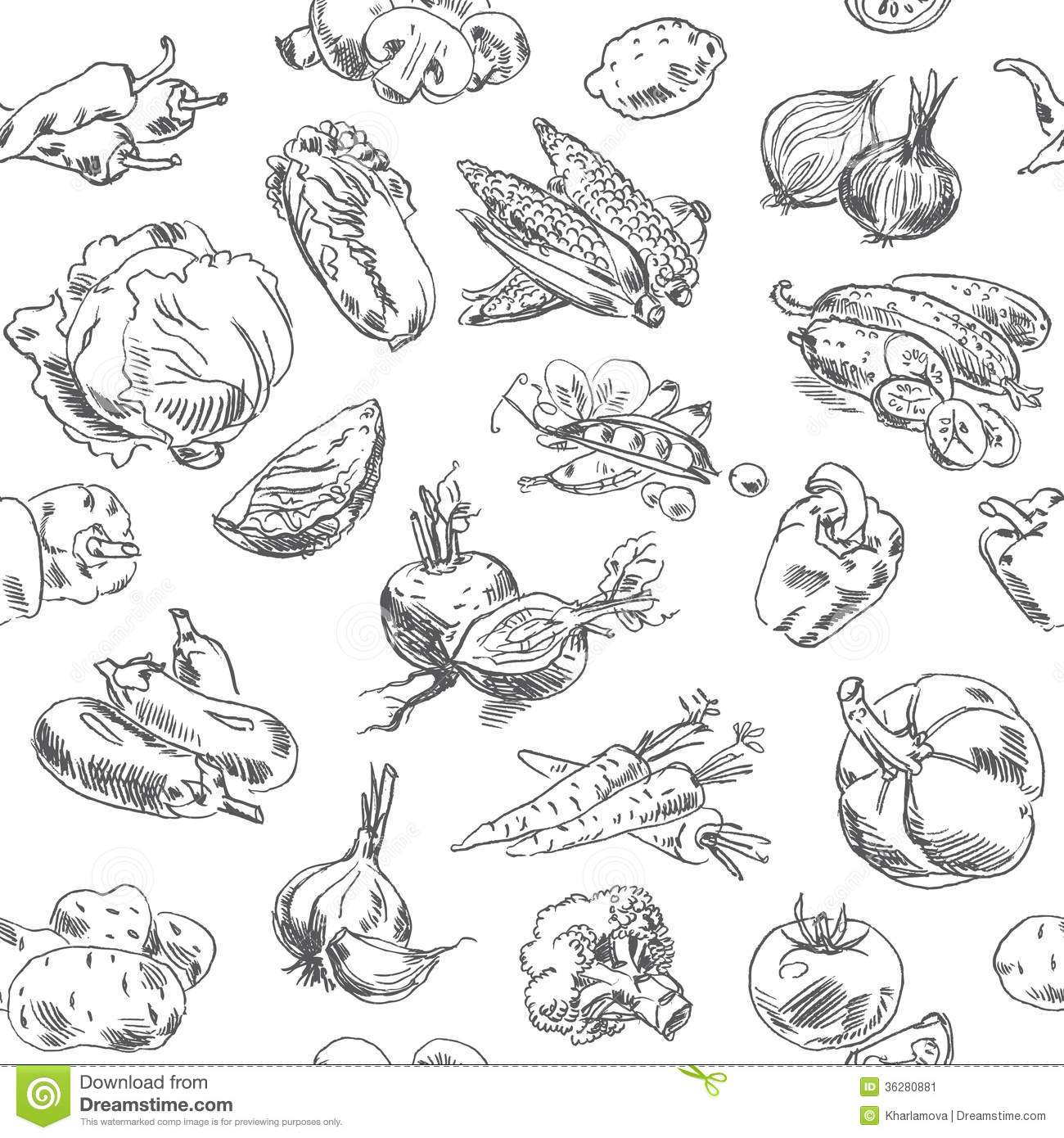 Freehand Drawing Vegetables Seamless Pattern Stock Vector