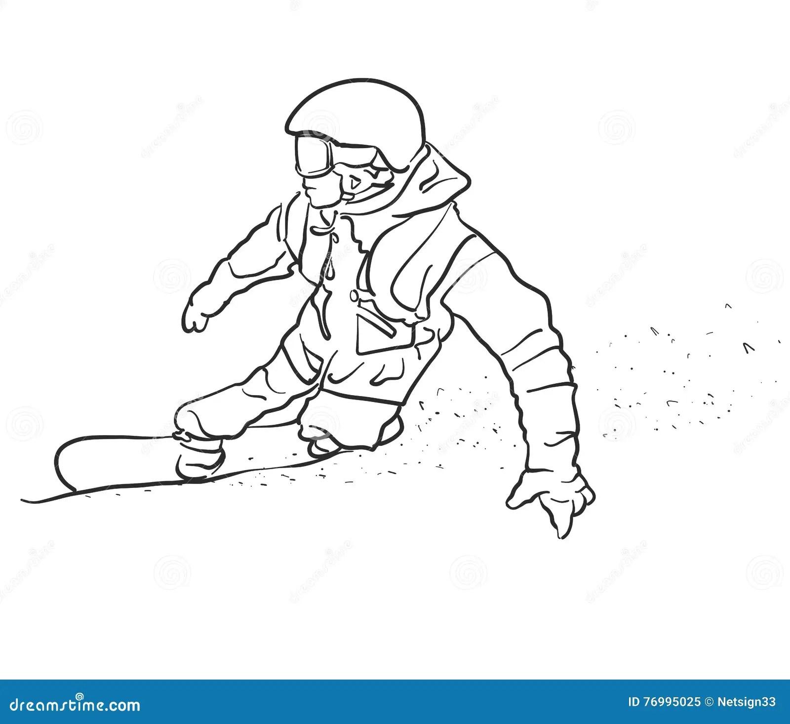 Snowboarder Man Vector Sketch Cartoon Vector
