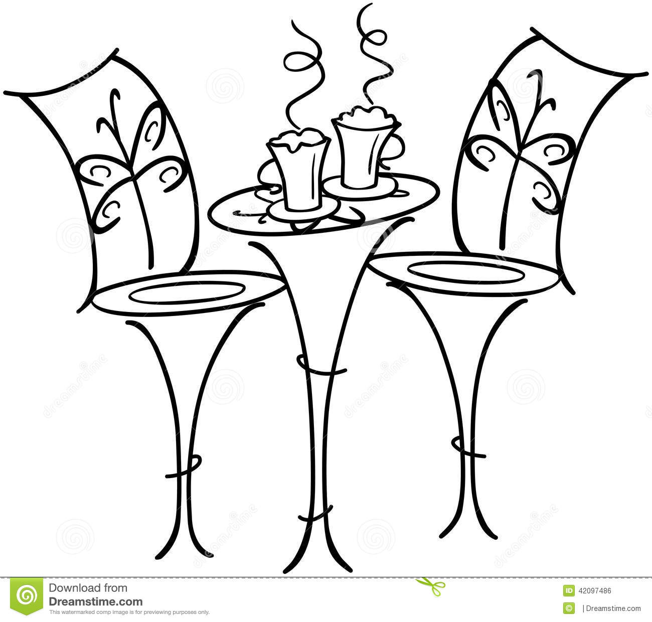 French Cafe Table Stock Vector Illustration Of Homes