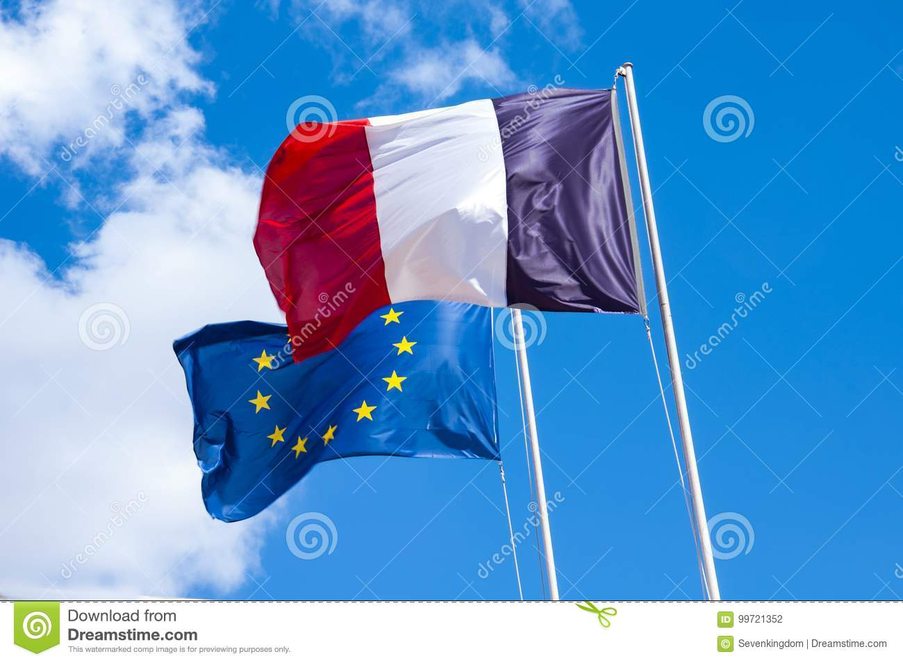 French And European Union Flags Stock Photo