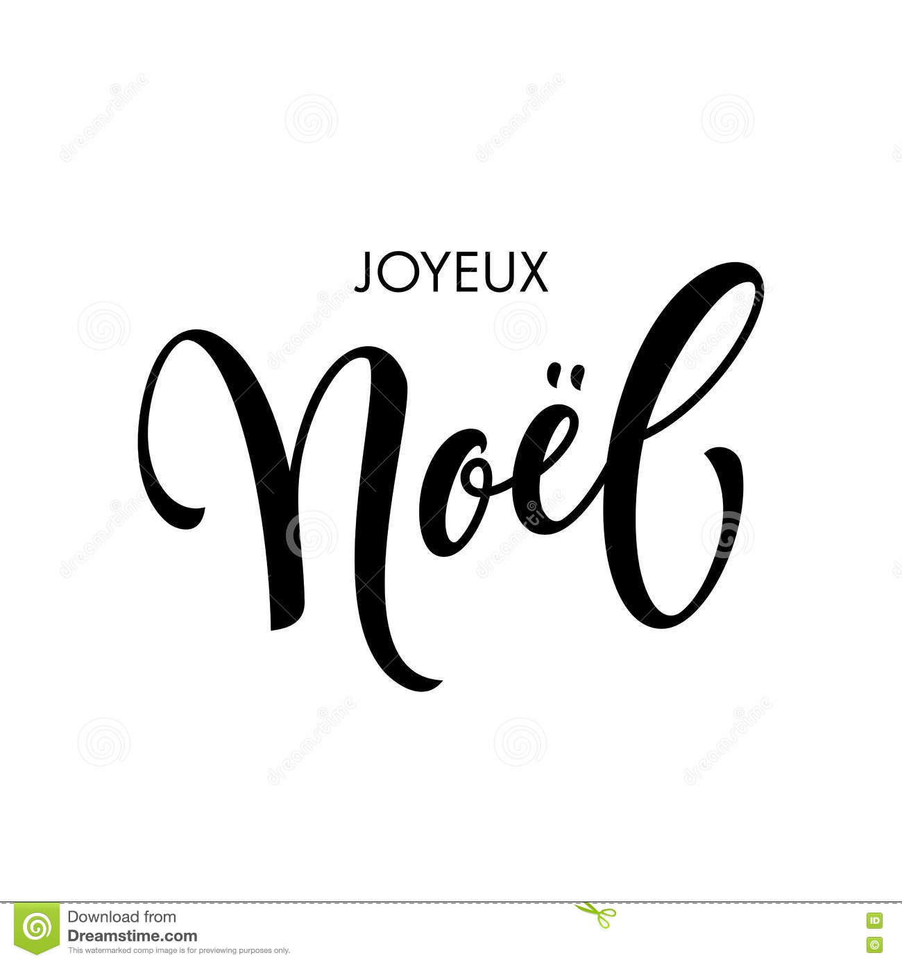 French Merry Christmas Joyeux Noel Calligraphy Text